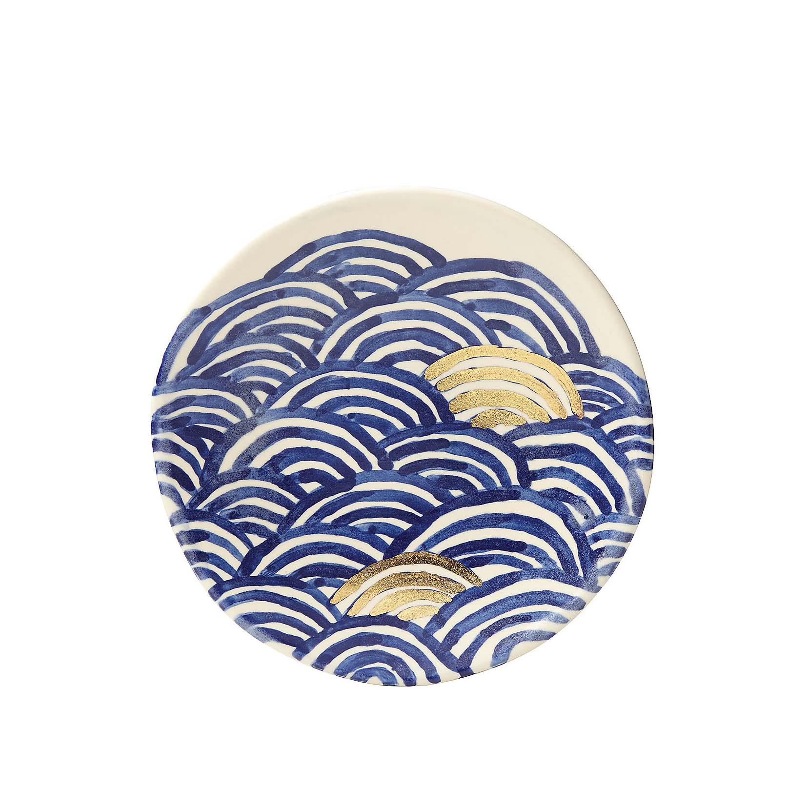 blue and white circluar design plate