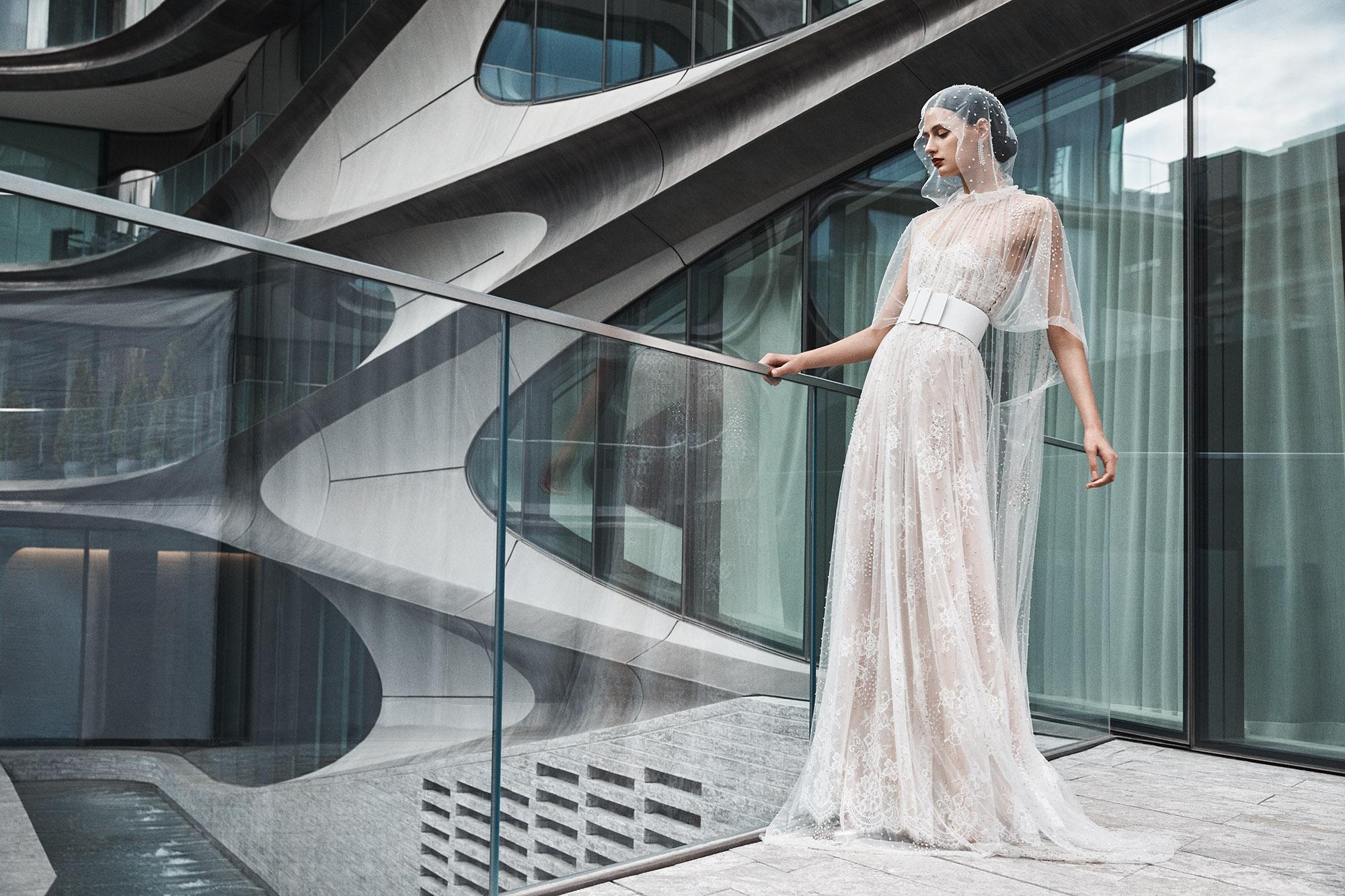 naeem khan wedding dress sheer cape a-line floral applique