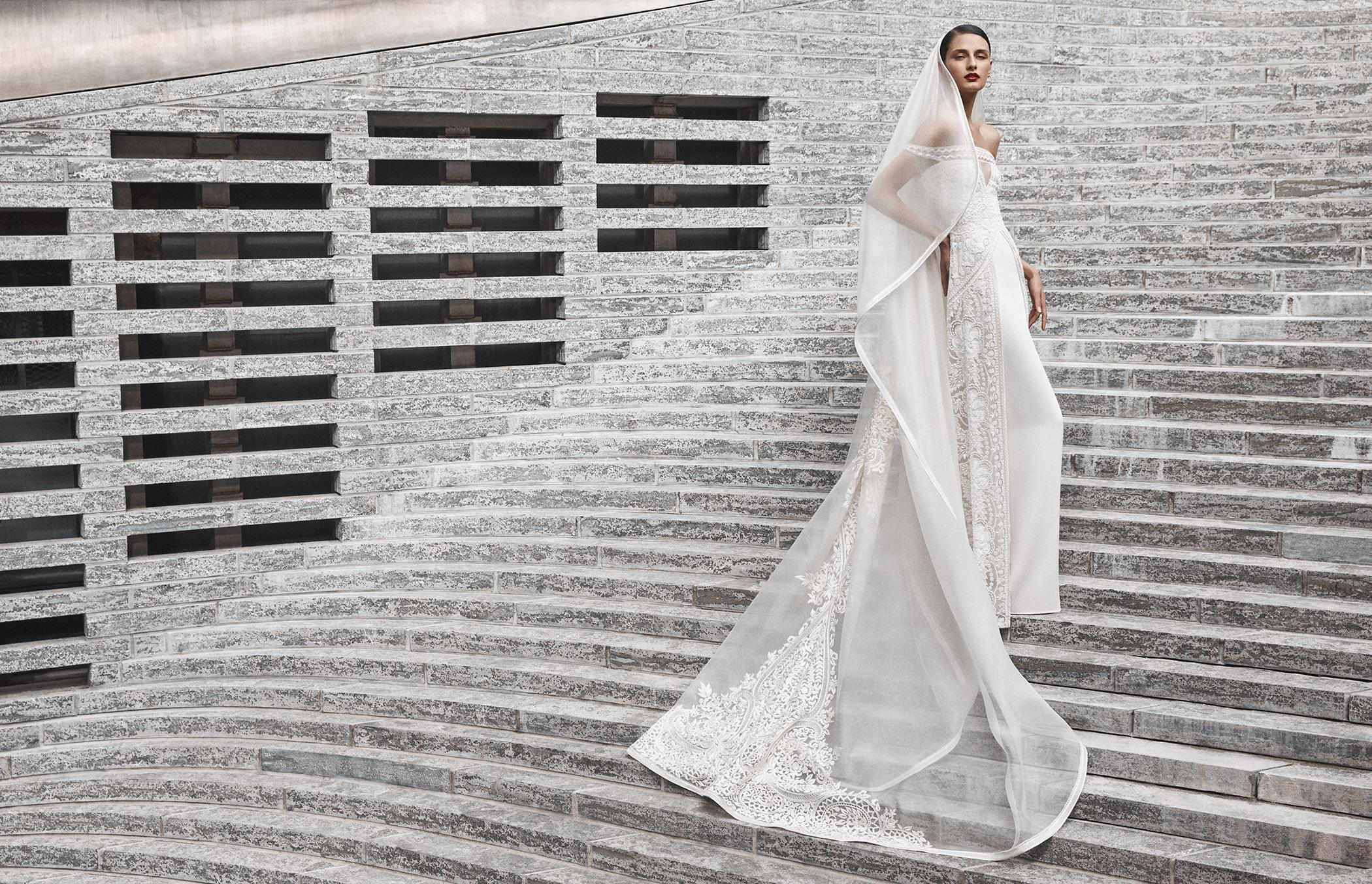 naeem khan wedding dress off the shoulder sheath lace panels on dress and veil