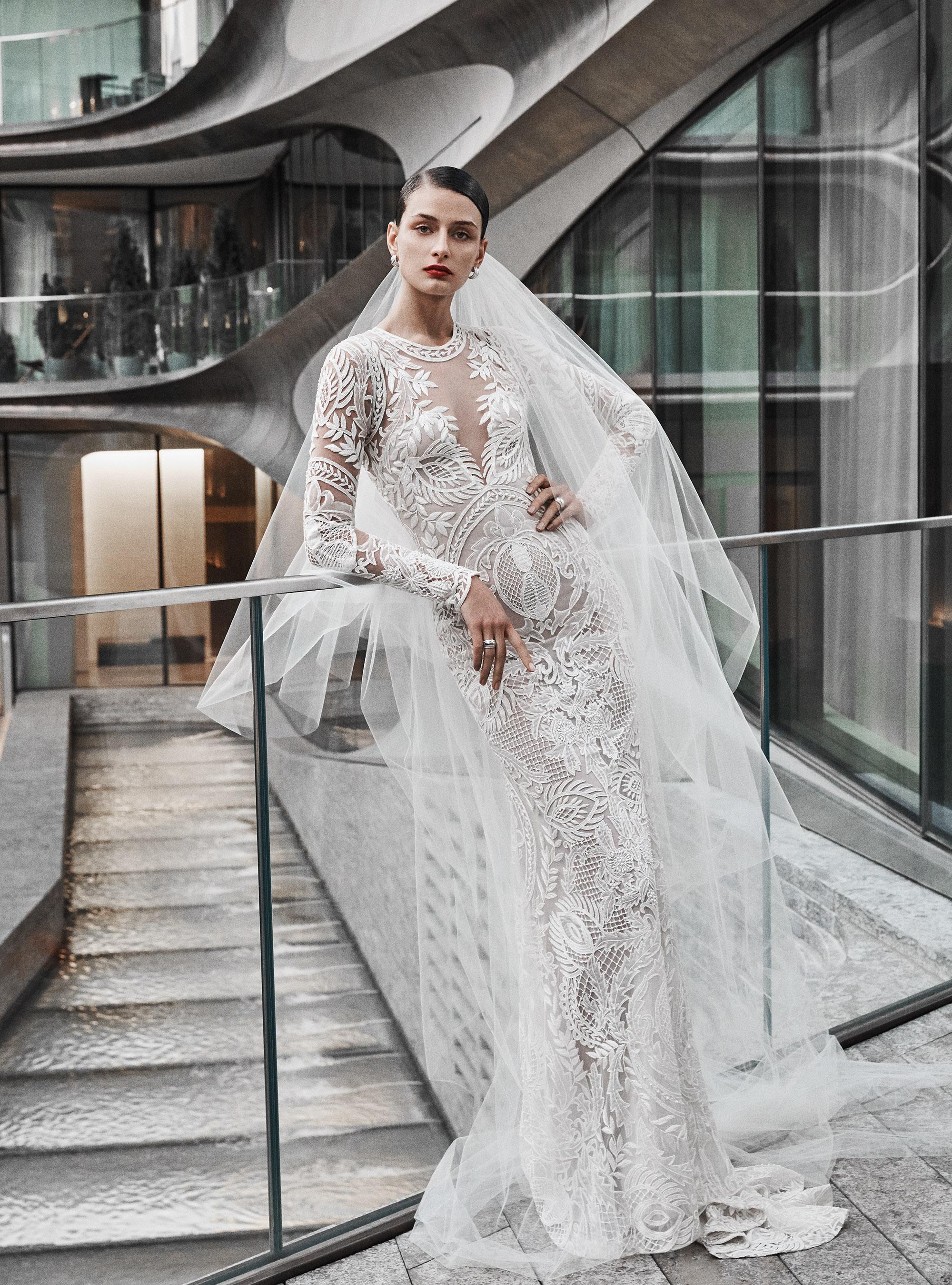 naeem khan wedding dress long sleeves lace sheath high neck