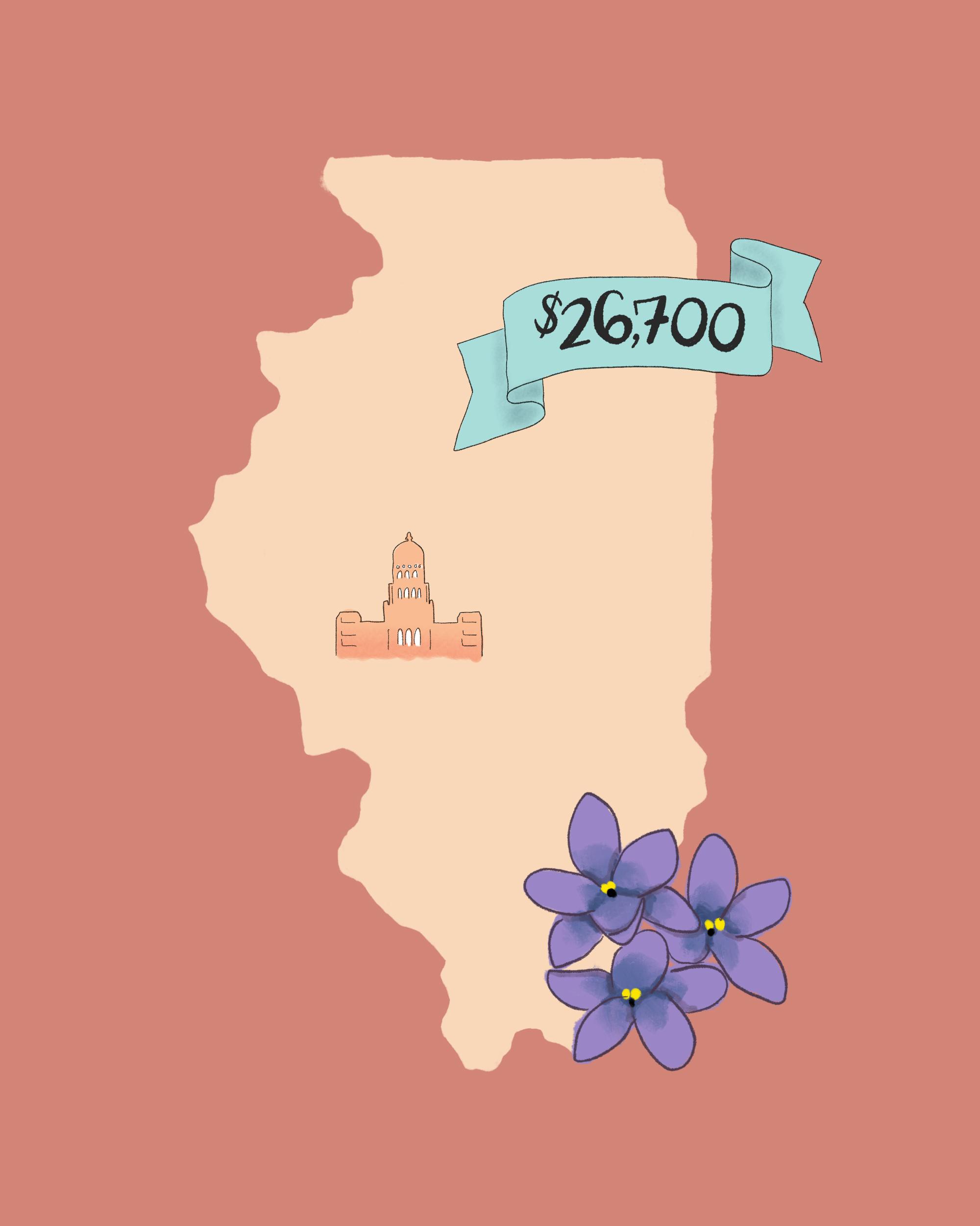 state wedding costs illustration illinois