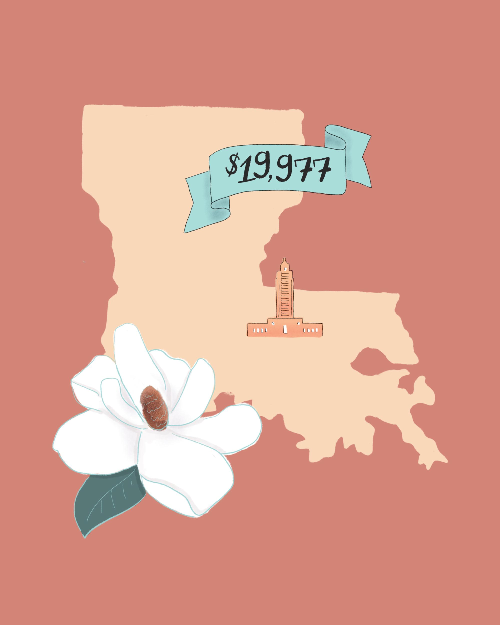 state wedding costs illustration louisiana