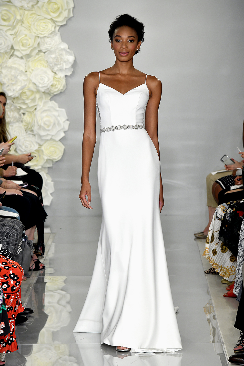 theia fall 2019 trumpet sweetheart spaghetti strap beaded belt
