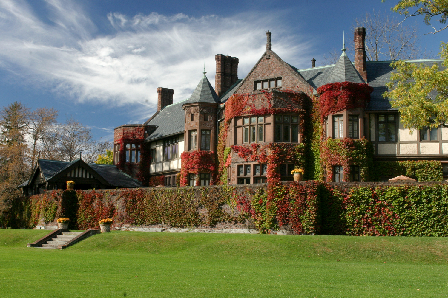 manor house with fall foliage ivy