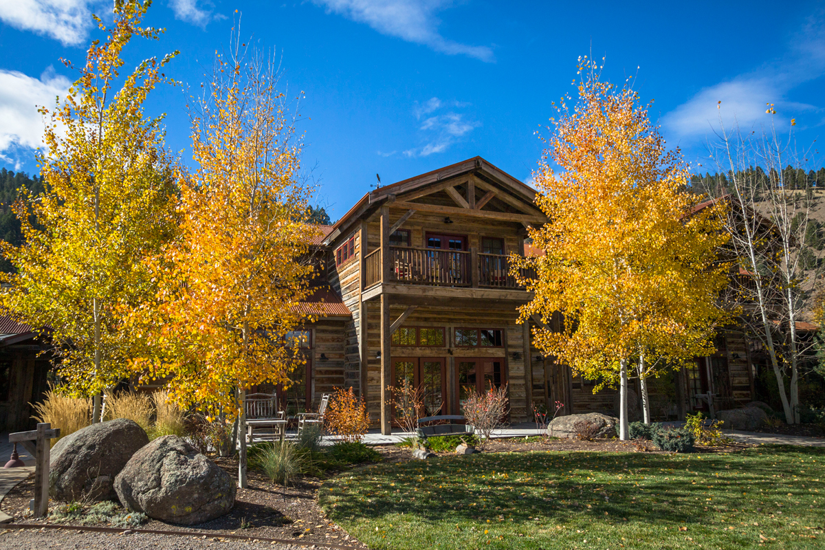 ranch surrounded by fall foliage