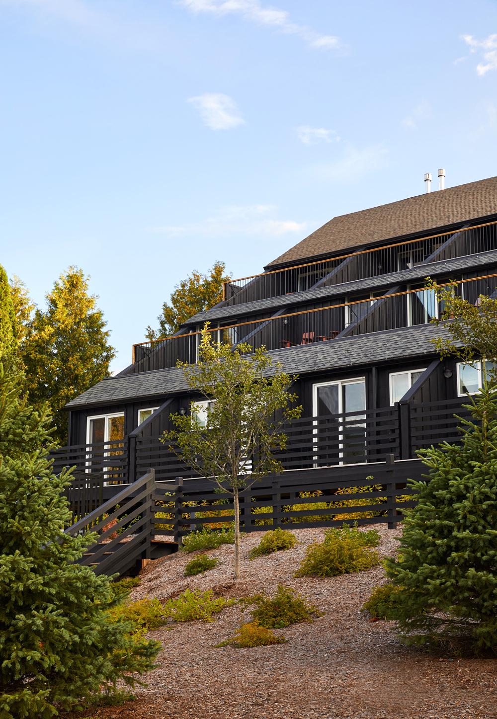 black ski lodge