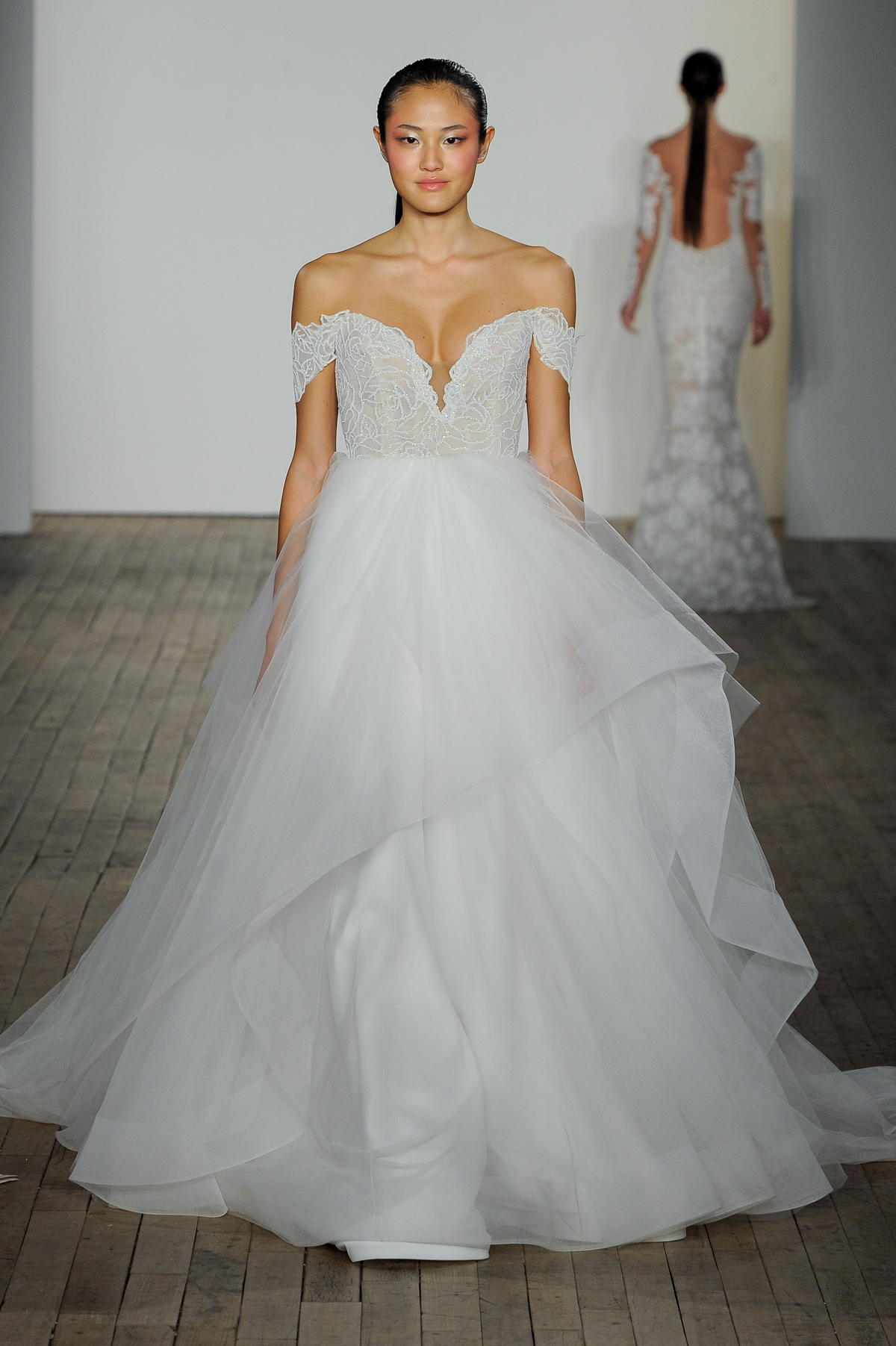 blush hayley paige fall 2019 beaded off the shoulder v-neck ballgown