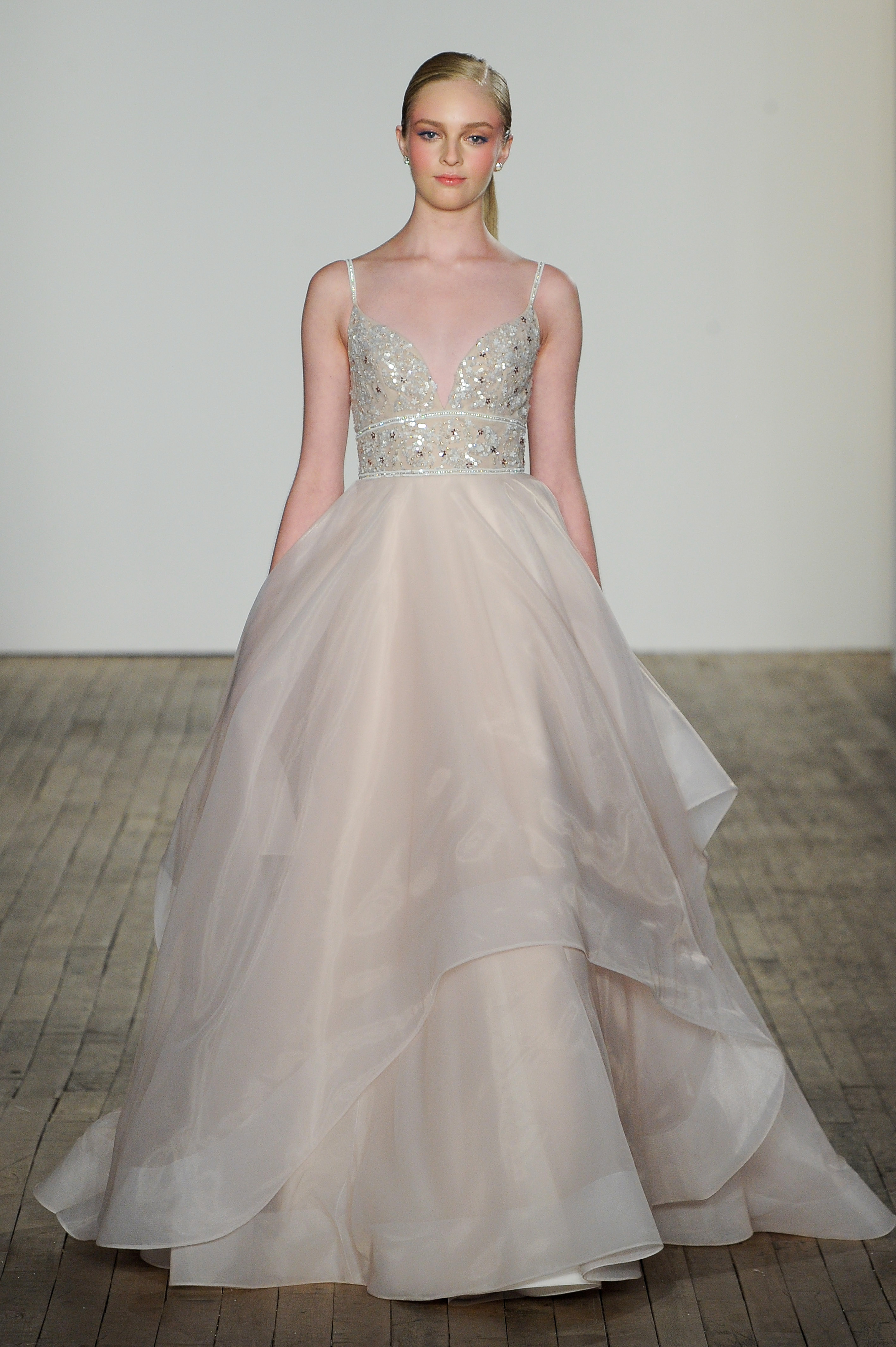 blush by hayley paige fall 2019 v-neck beaded ball gown wedding dress