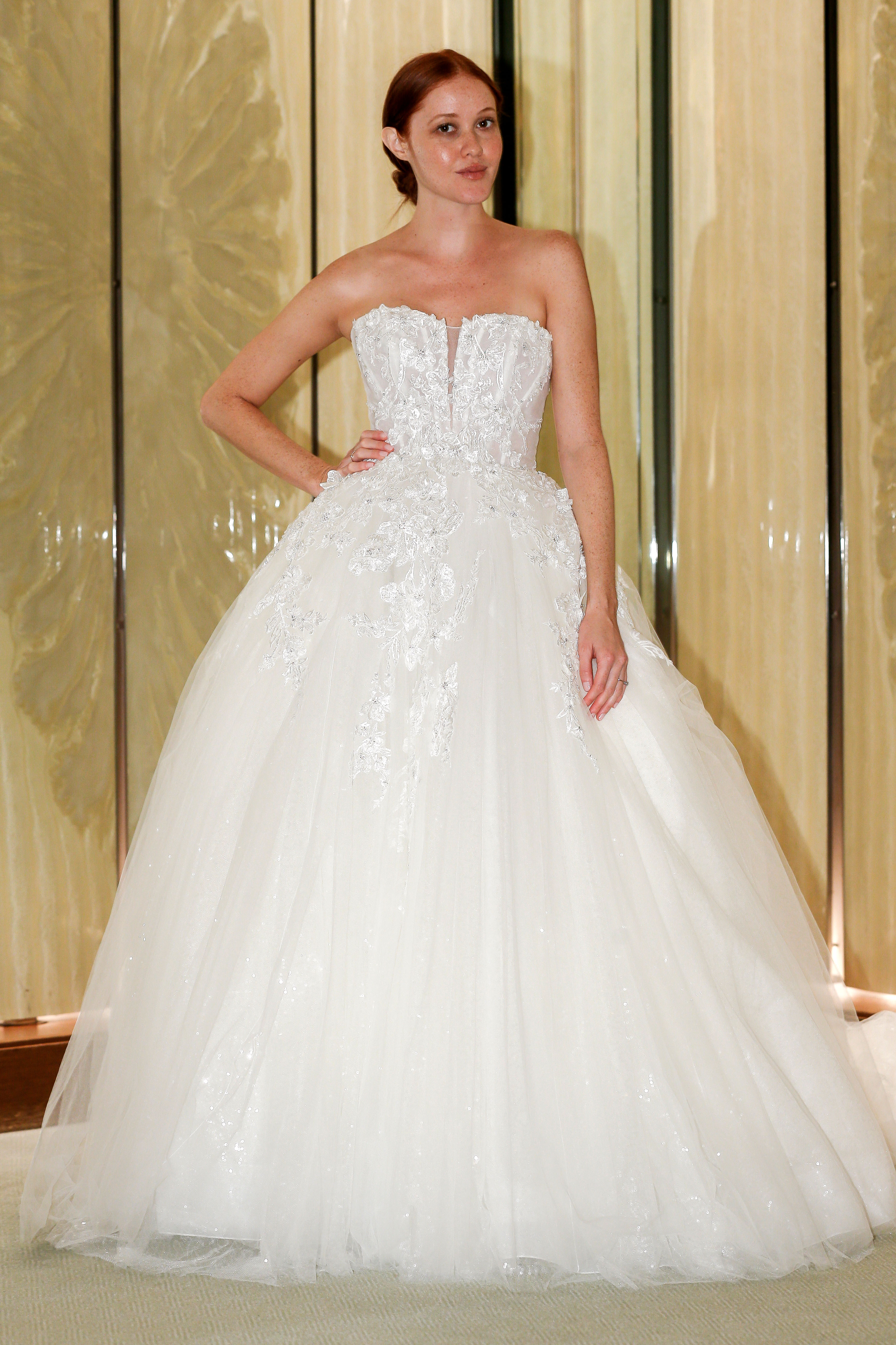 randy fenoli wedding dress tulle strapless floral applique ball gown