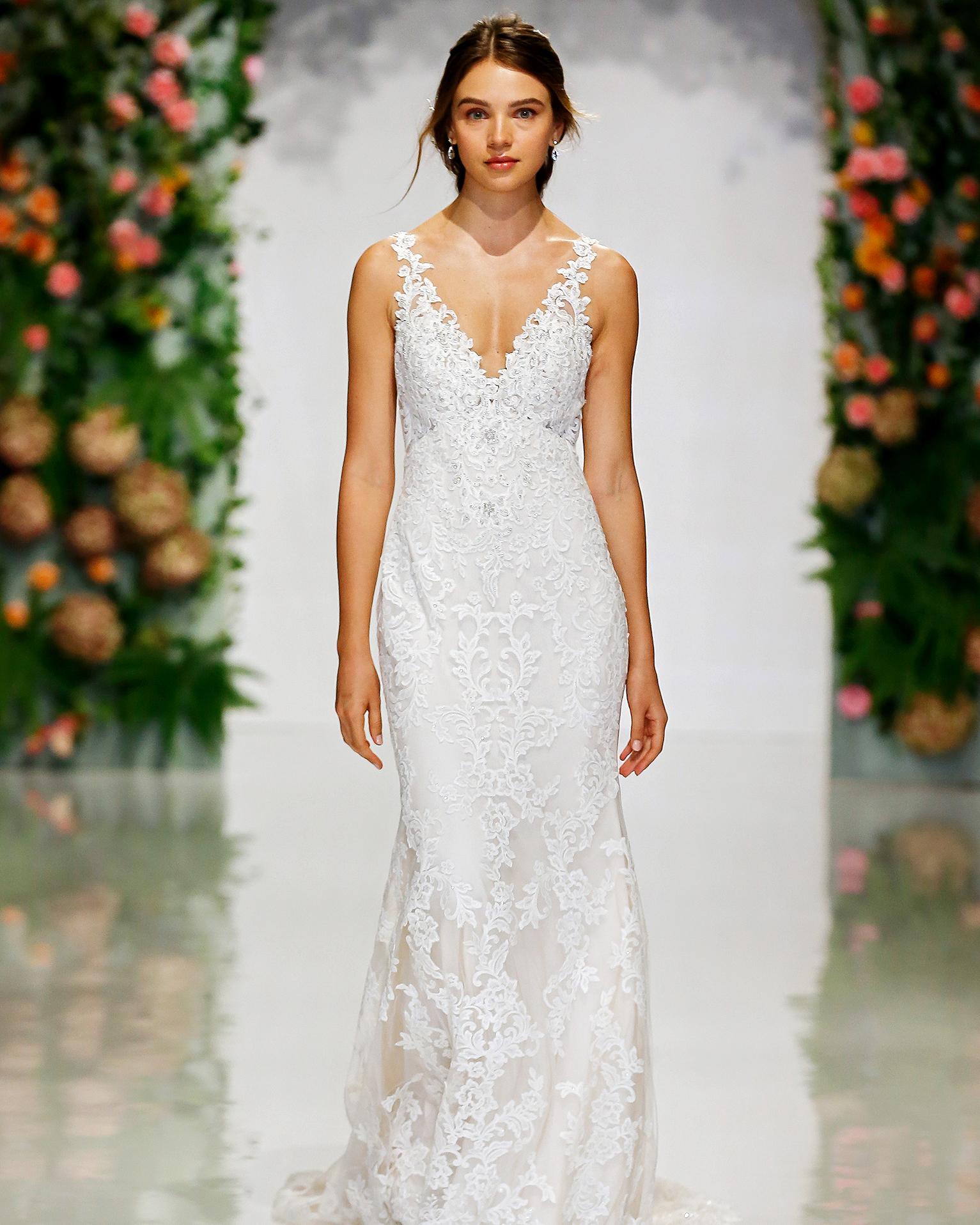 morilee madeline gardner wedding dress lace plunging v-neck