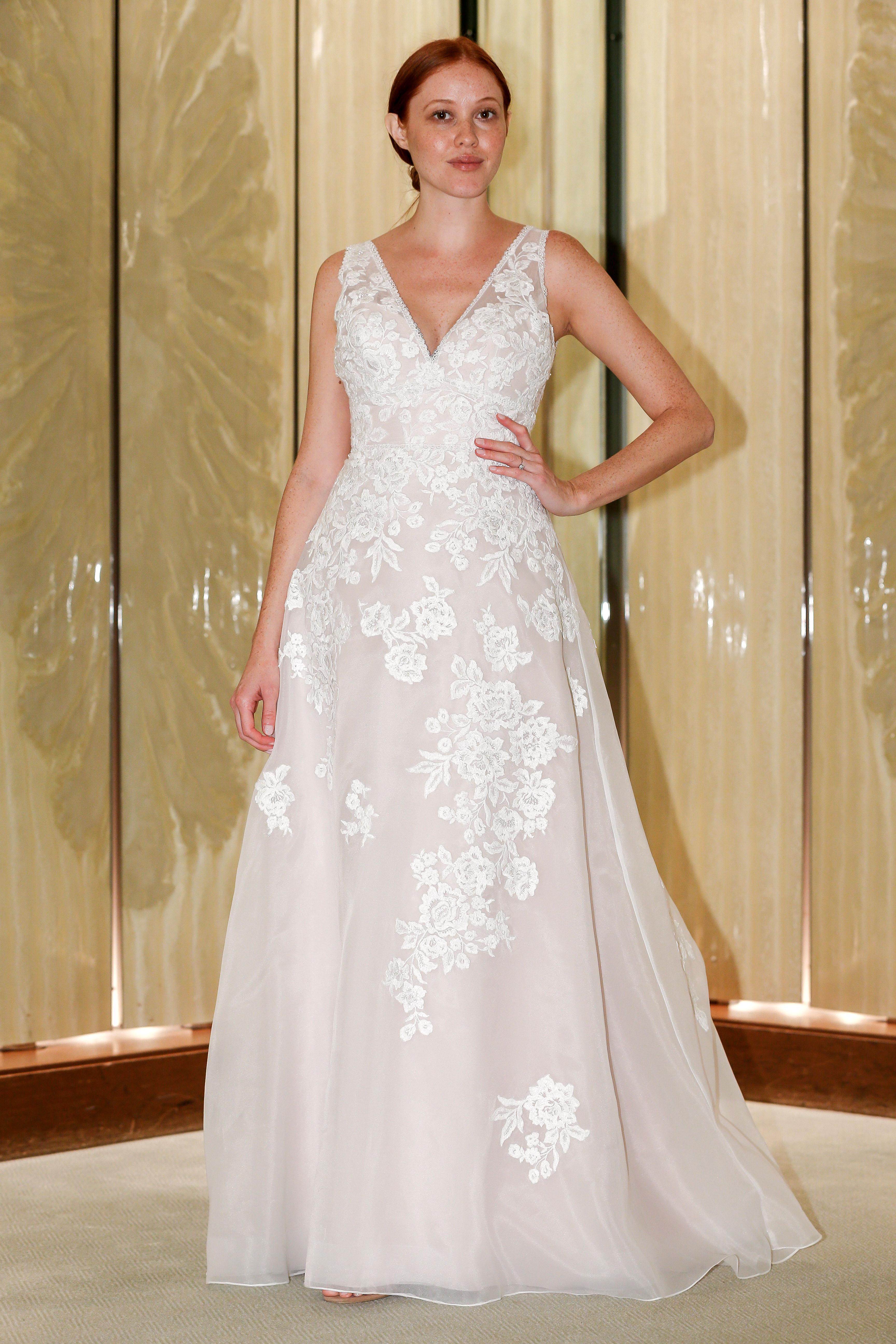 randy fenoli wedding dress floral lace v-neck a-line