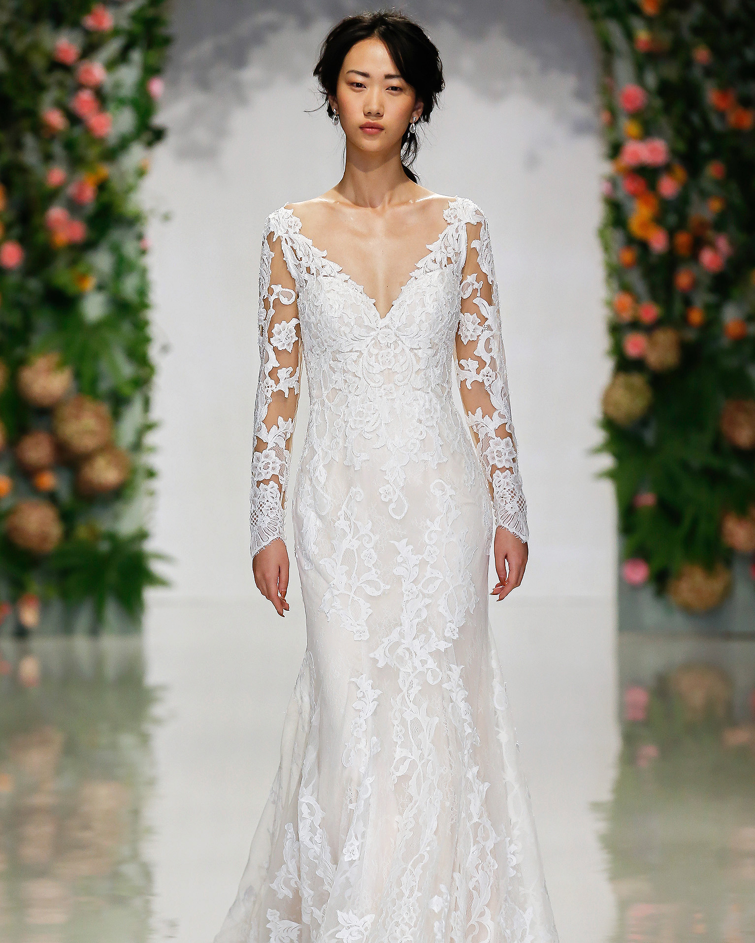 morilee madeline gardner wedding dress long-sleeved v-neck with lace overlay