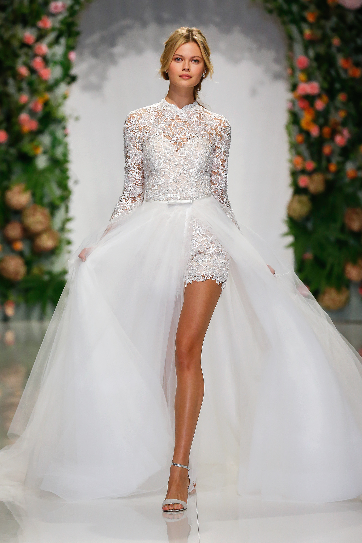 morilee madeline gardner fall 2019 lace short jumpsuit with long tulle skirt