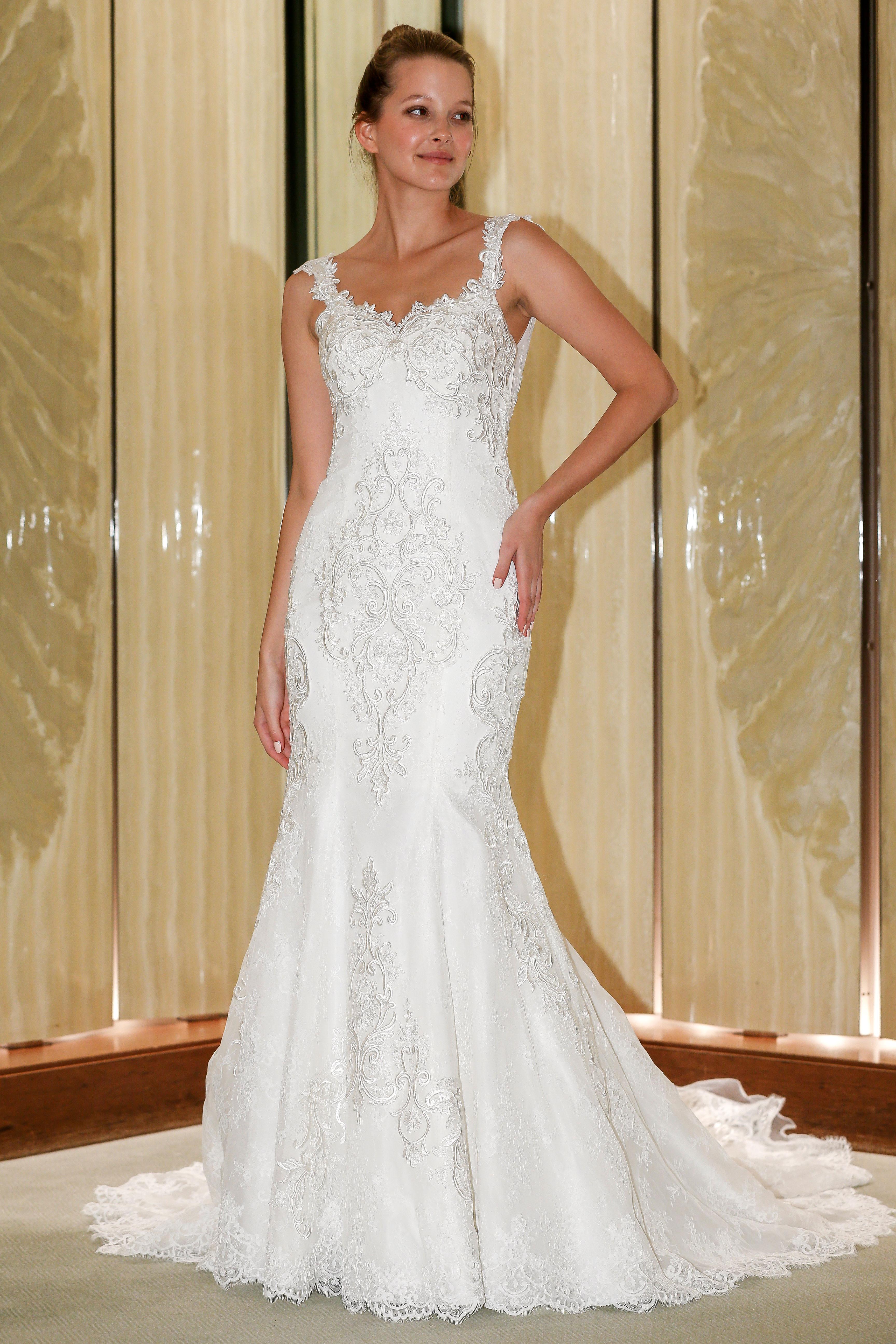 randy fenoli wedding dress embellished sleeveless trumpet