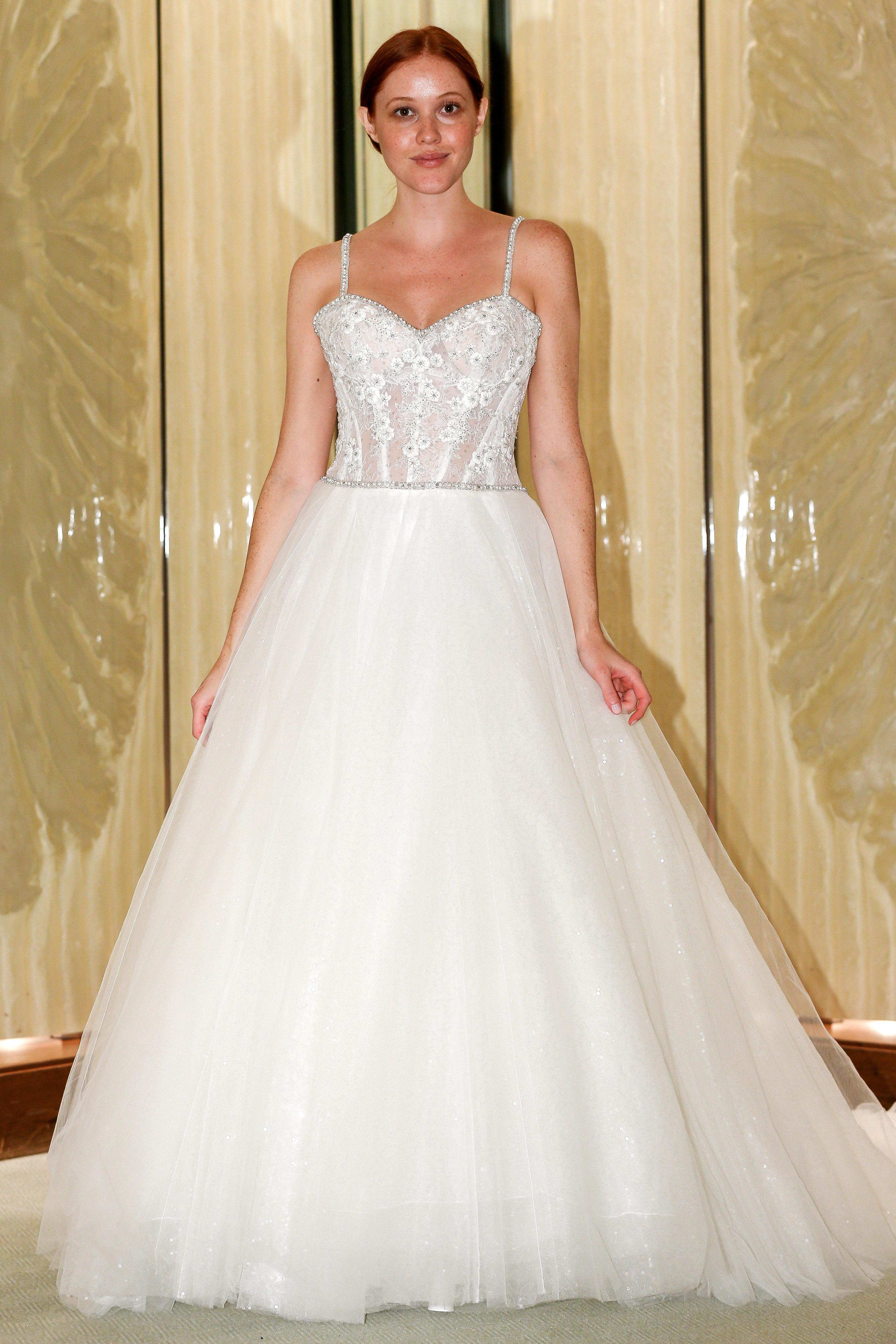 randy fenoli wedding dress spaghetti strap embellished bodice ball gown