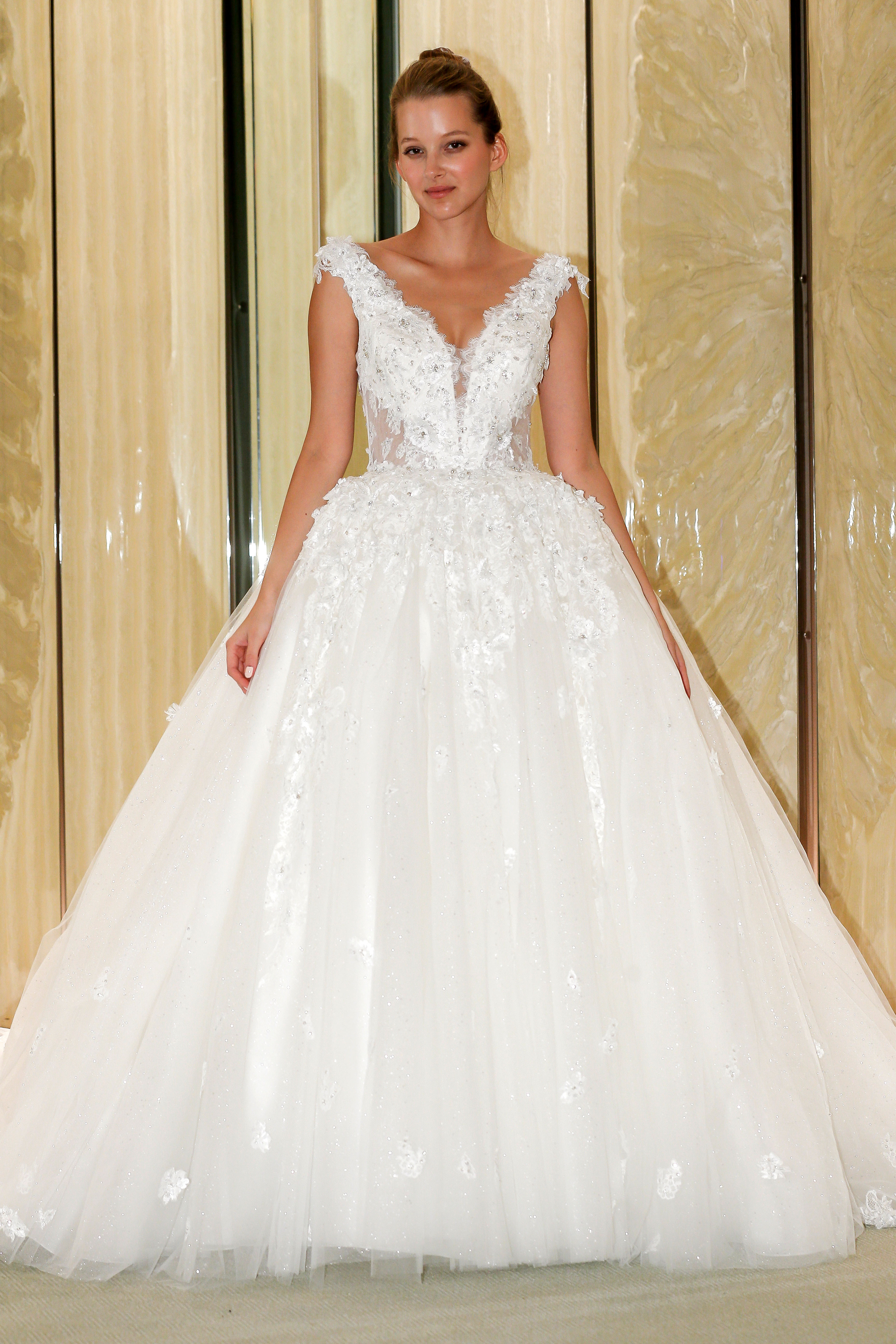 randy fenoli wedding dress v-neck floral applique tulle ball gown
