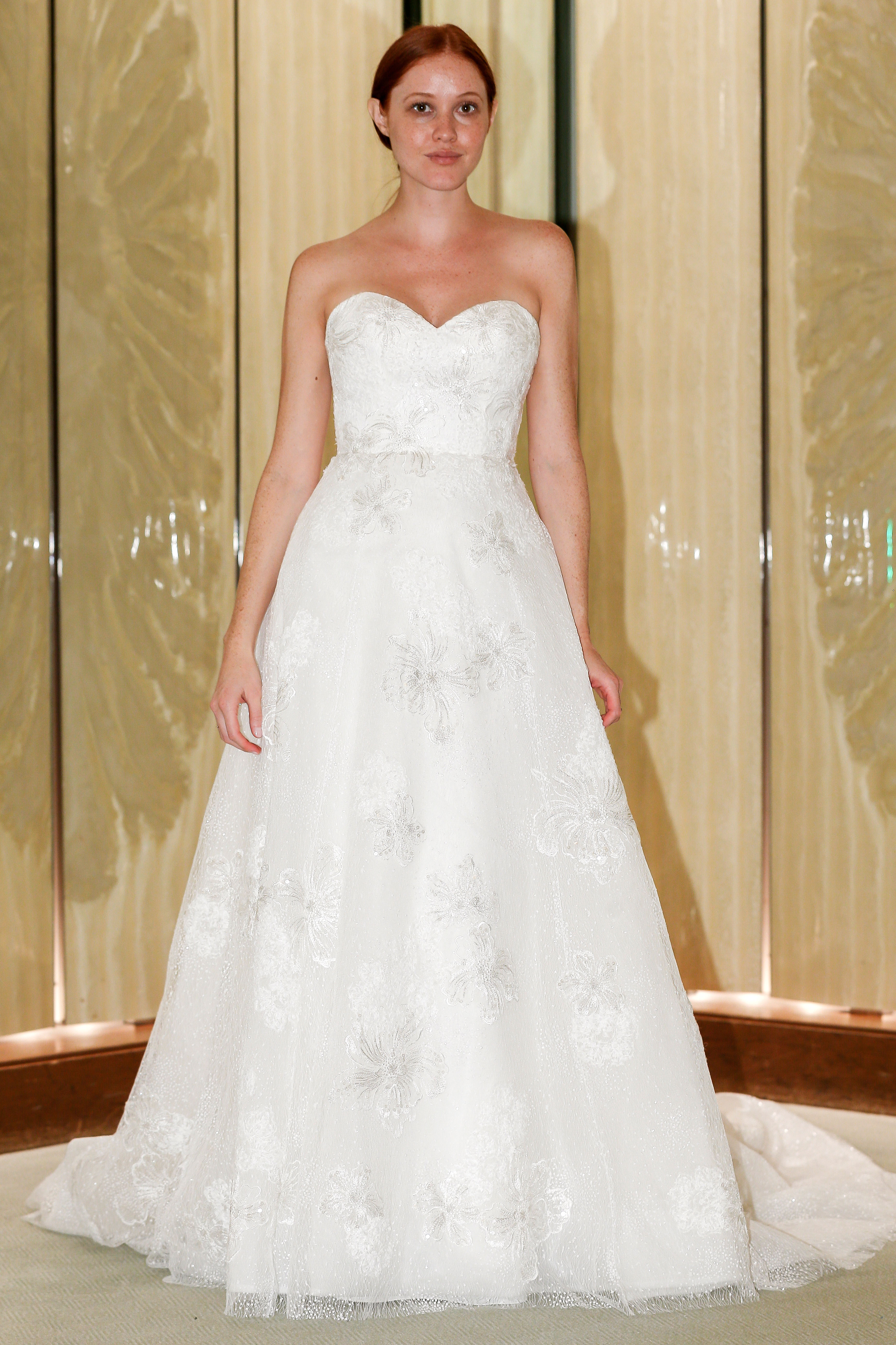 randy fenoli wedding dress sweetheart strapless a-line floral metallic