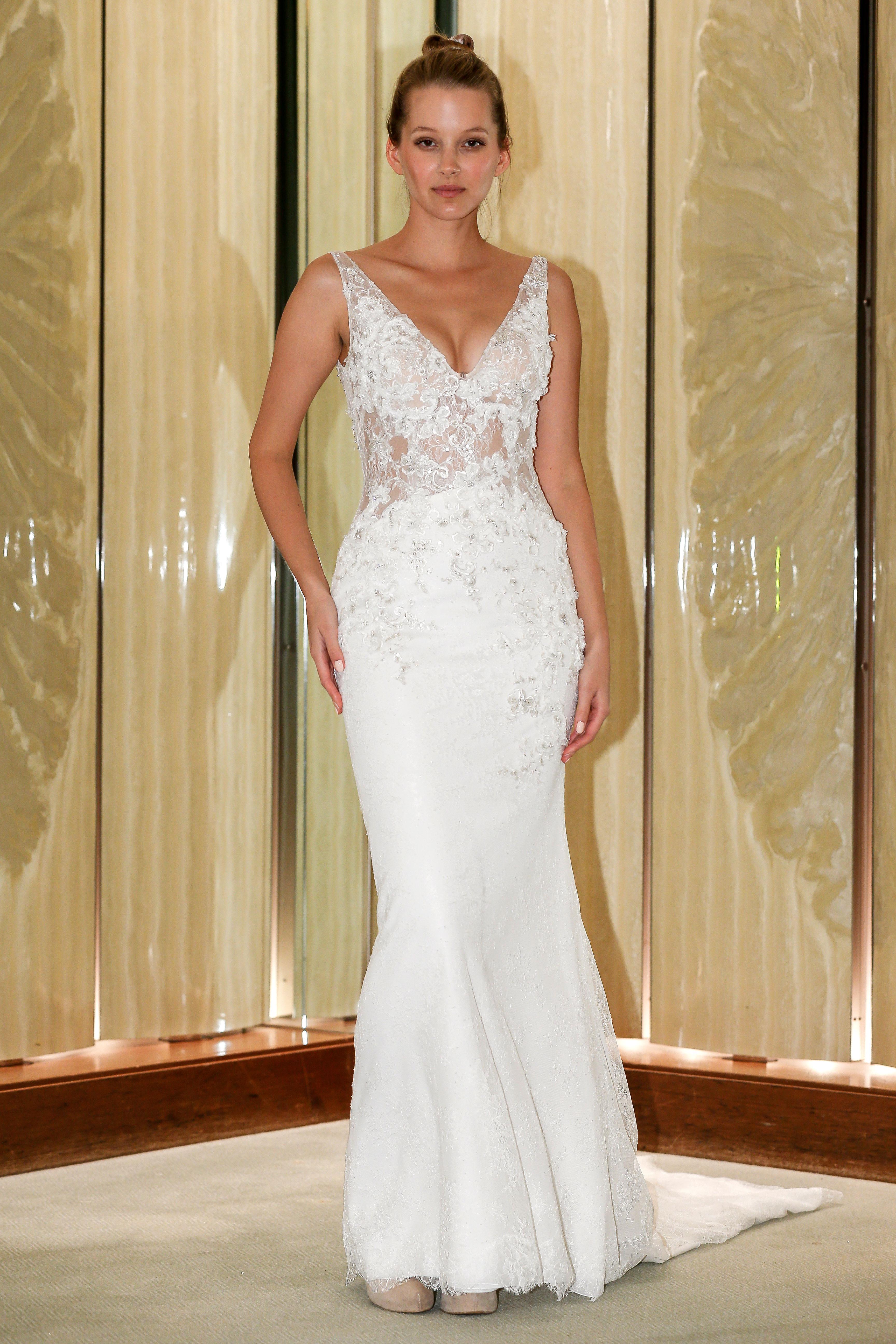 randy fenoli wedding dress embellished sleeveless v-neck trumpet