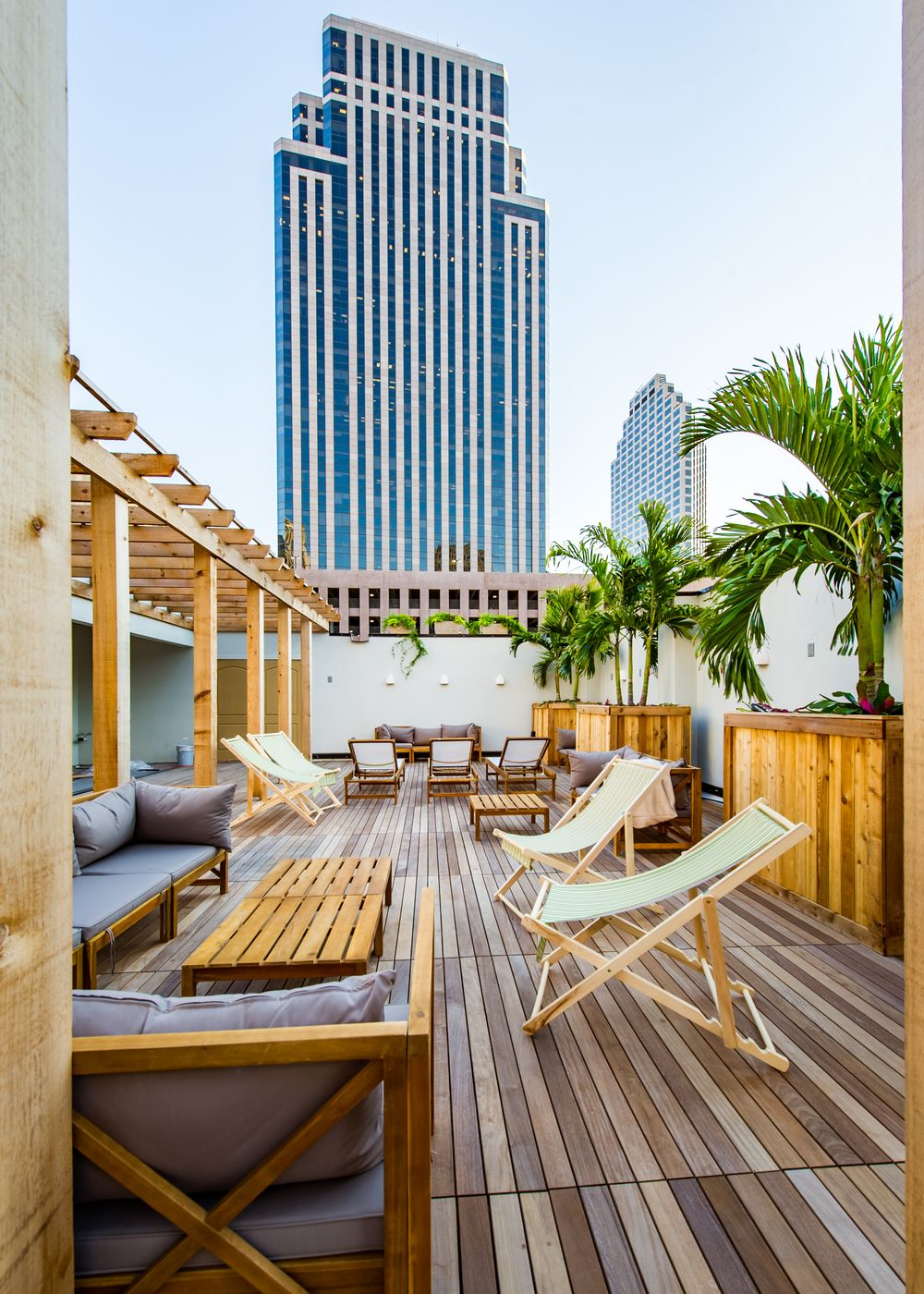 bachelorette cities nola rooftop view lounge chairs