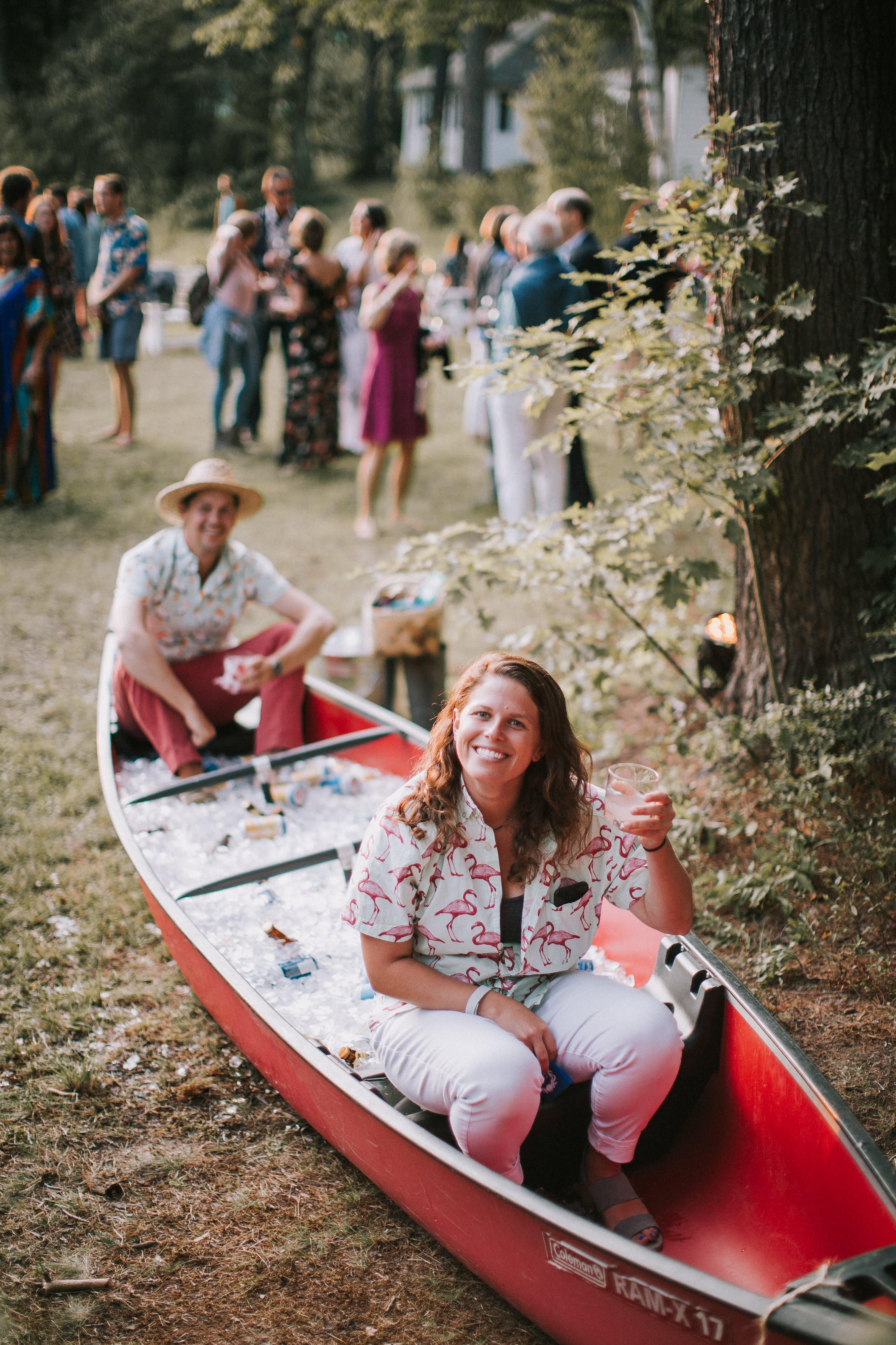 sofi ben camp weekend beer canoe