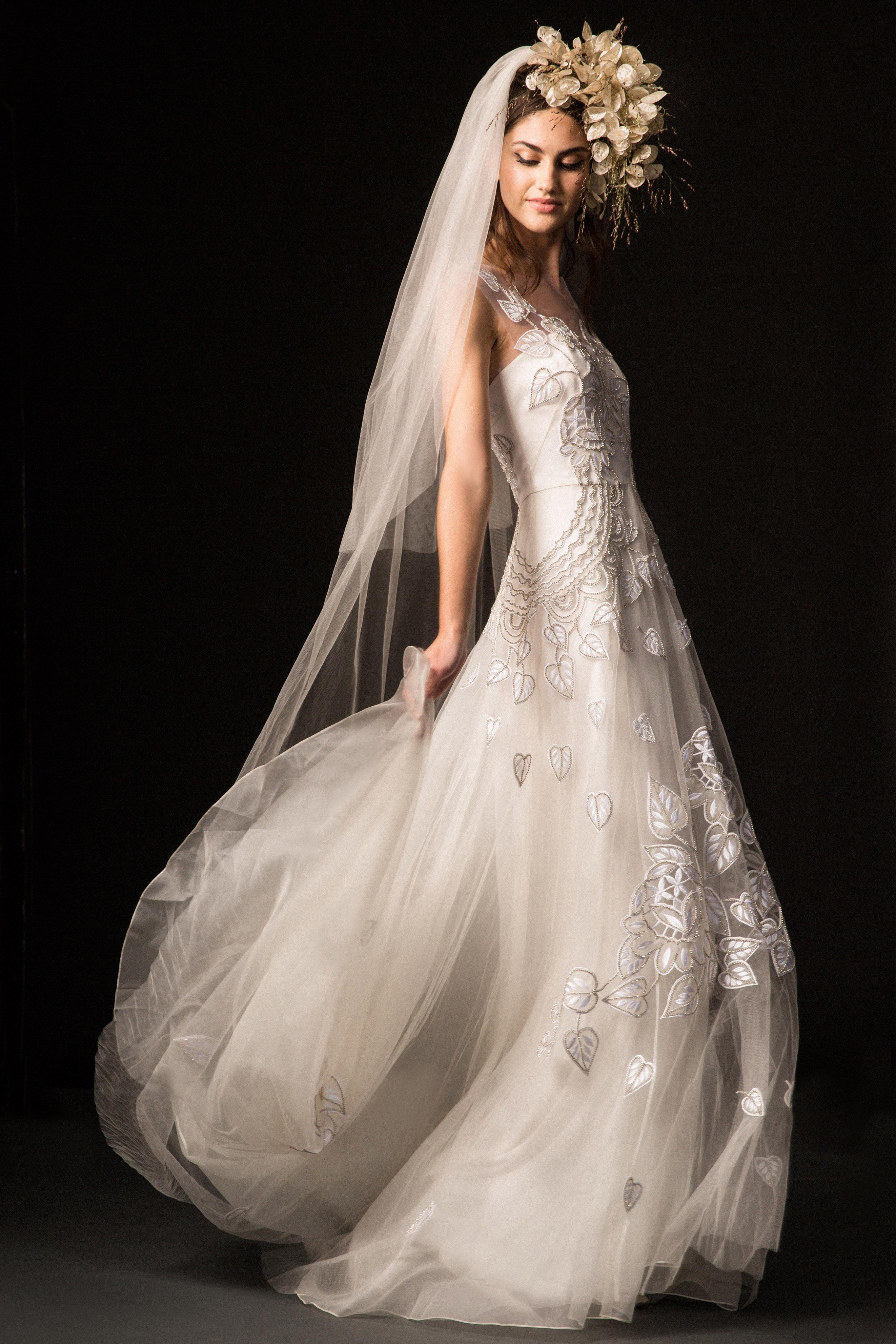 temperley fall 2019 floral applique a-line wedding dress