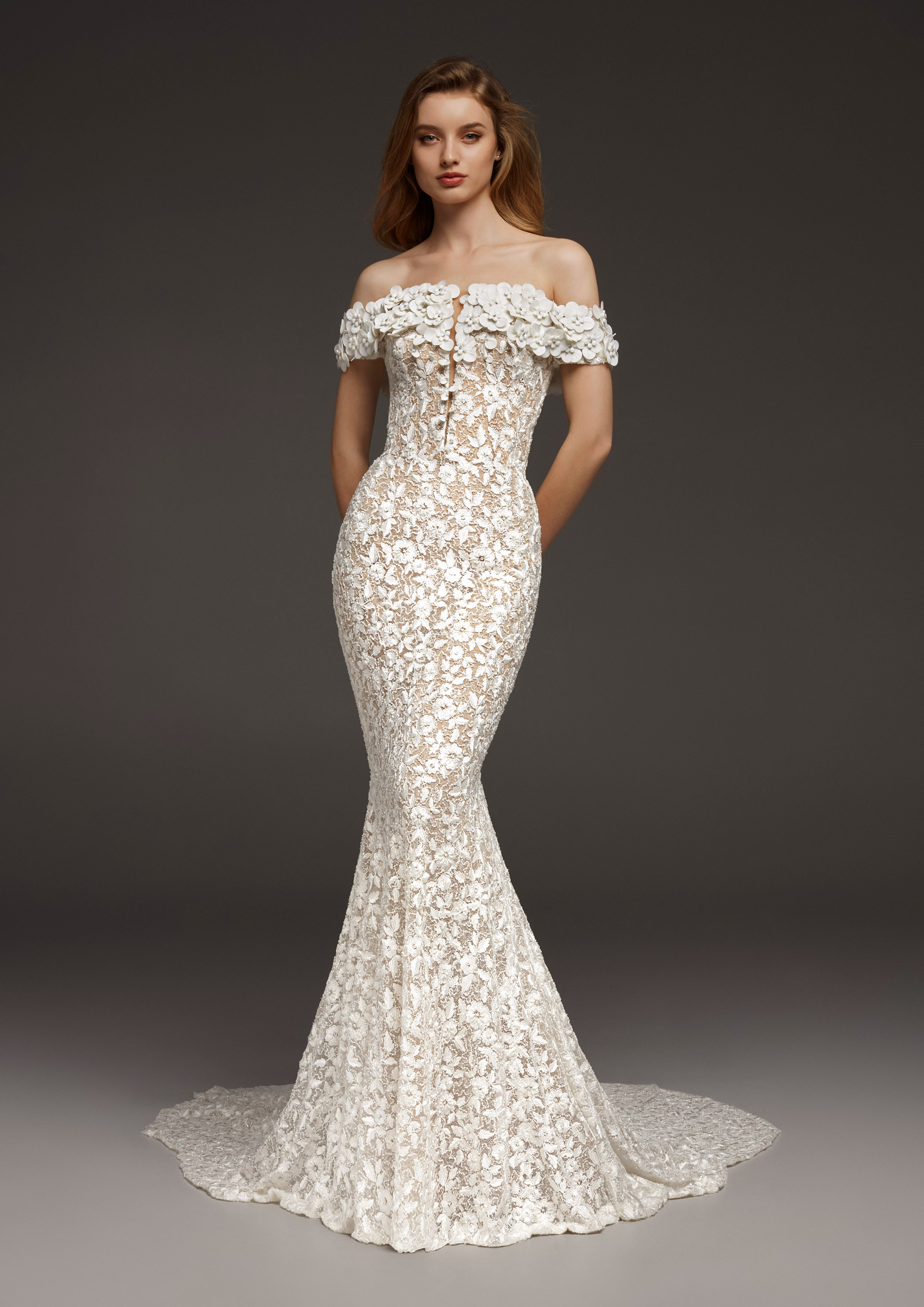 pronovias fall 2019 floral applique mermaid wedding dress