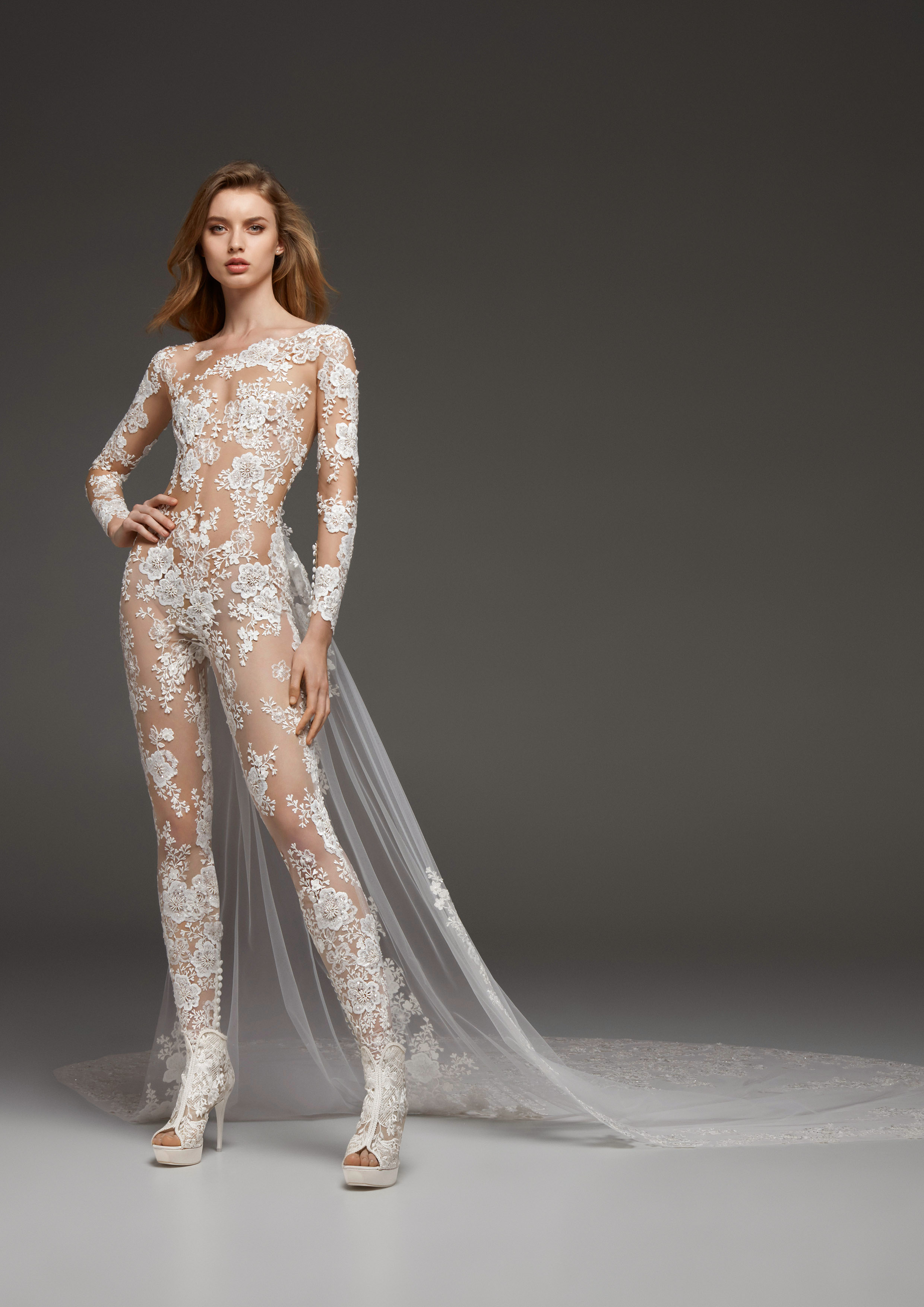pronovias fall 2019 sheer jumpsuit wedding dress