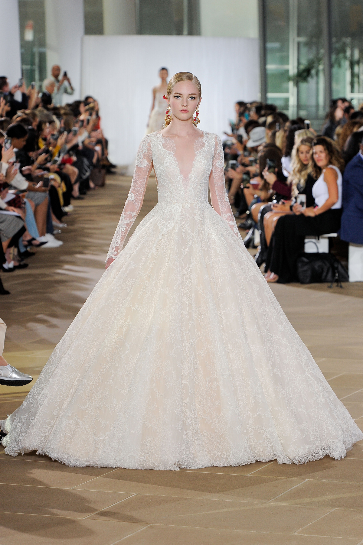 ines di santo fall 2019 lace long sleeve ball gown with deep v-neck
