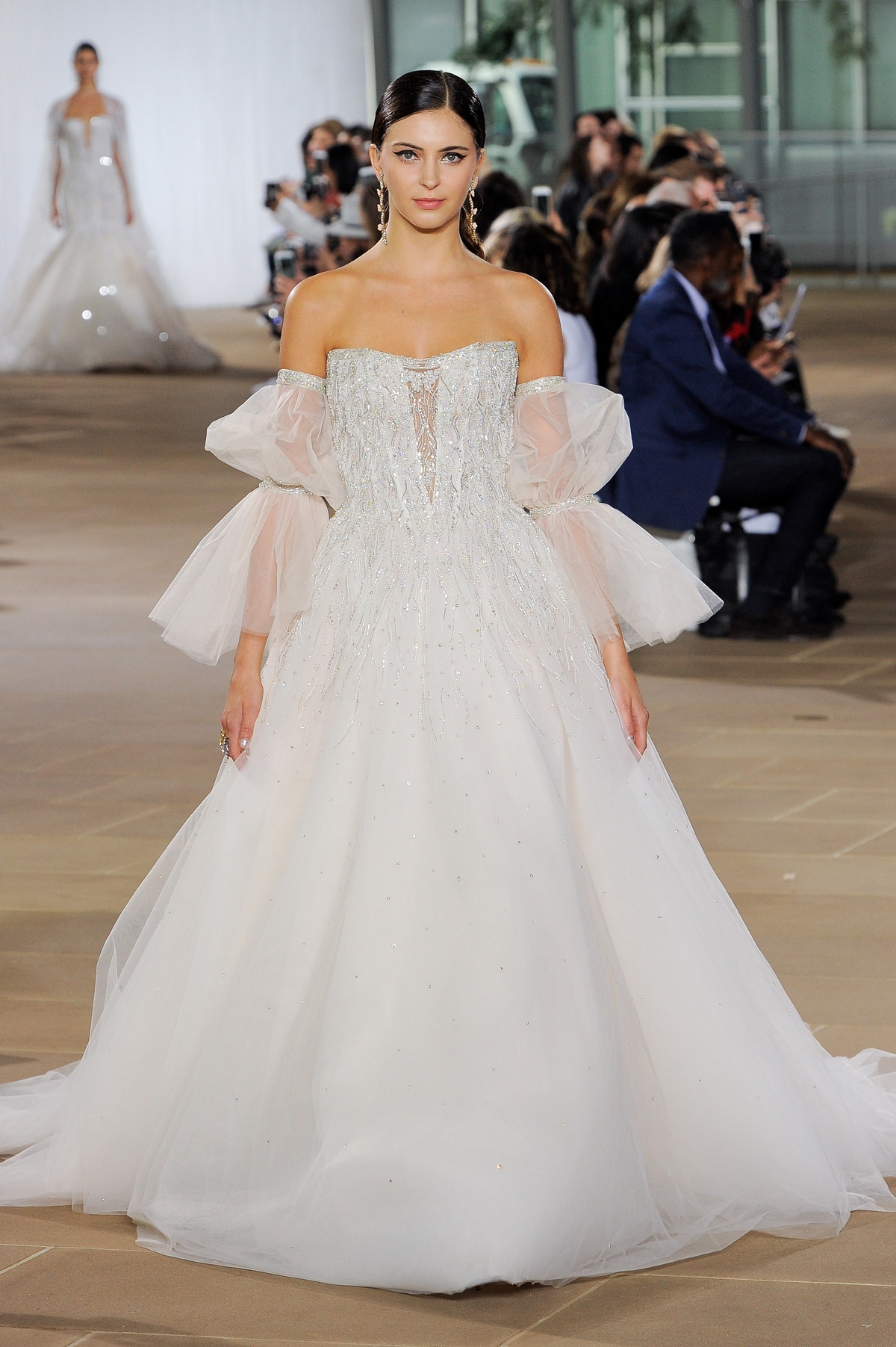 ines di santo fall 2019 beaded off the shoulder ball gown with sheer ruffled sleeves