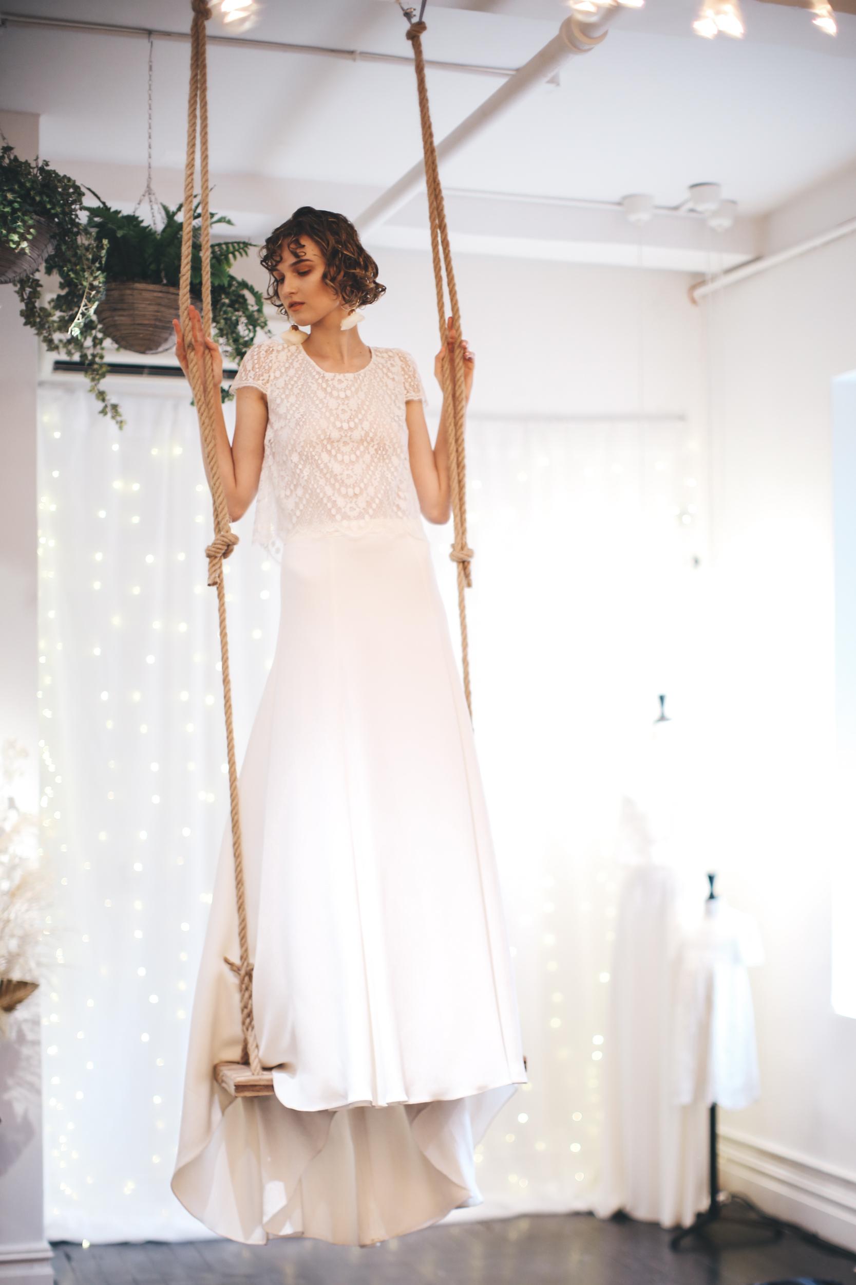 laure de sagazan fall 2019 a line high neck short sleeves lace bodice