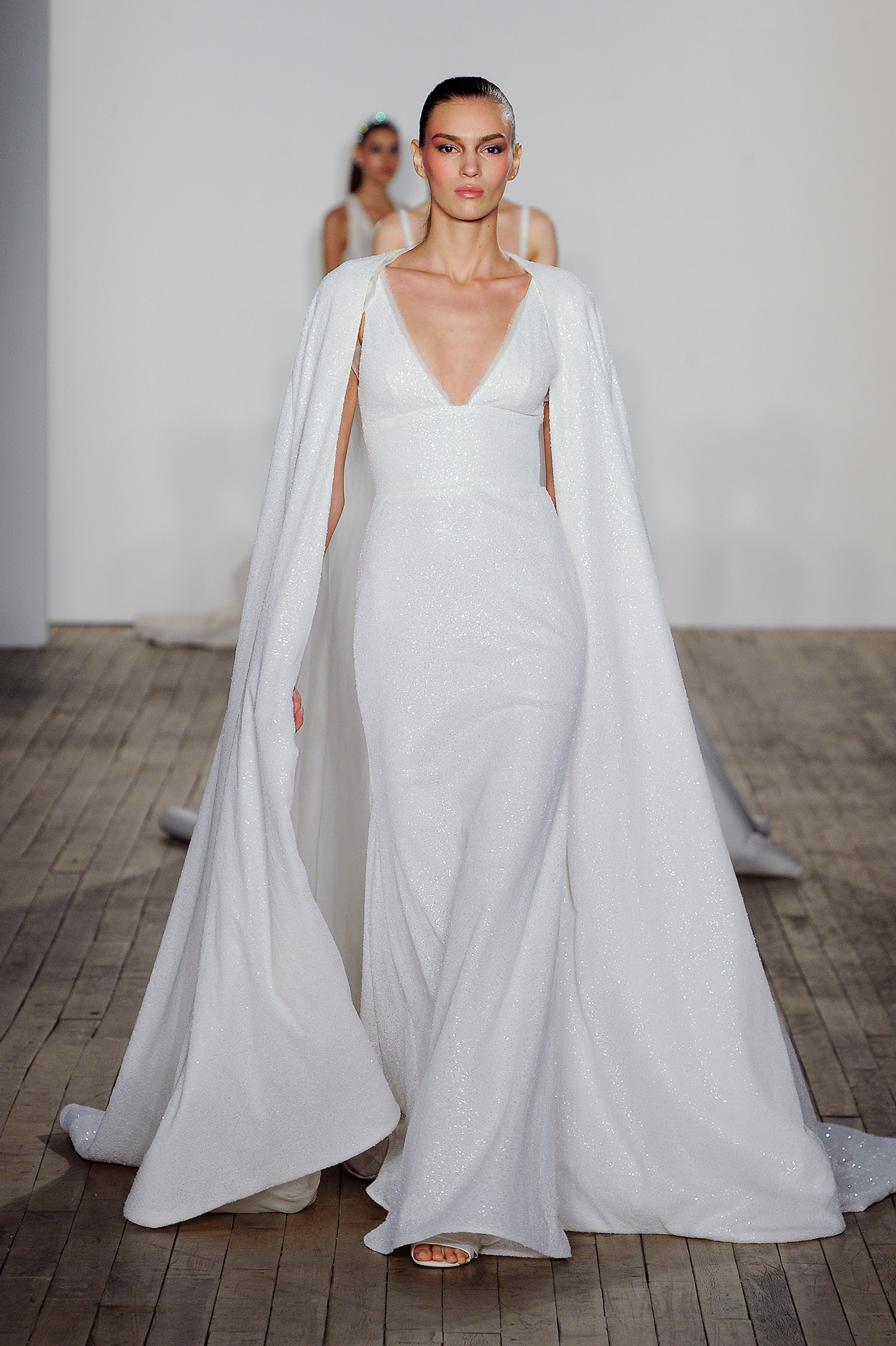 allison webb wedding dress v-neck sparkly cape
