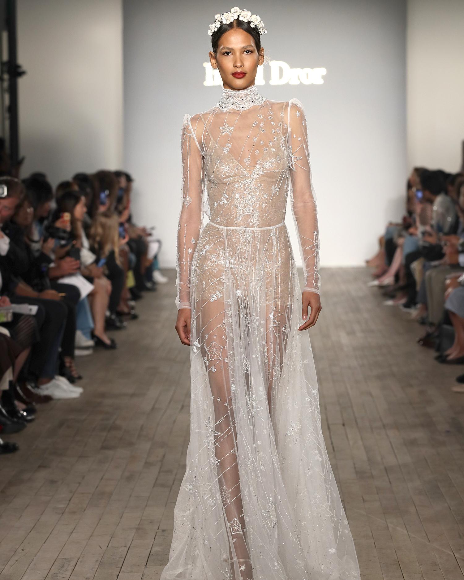 inbal dror wedding dress high-neck long-sleeved shear overlay