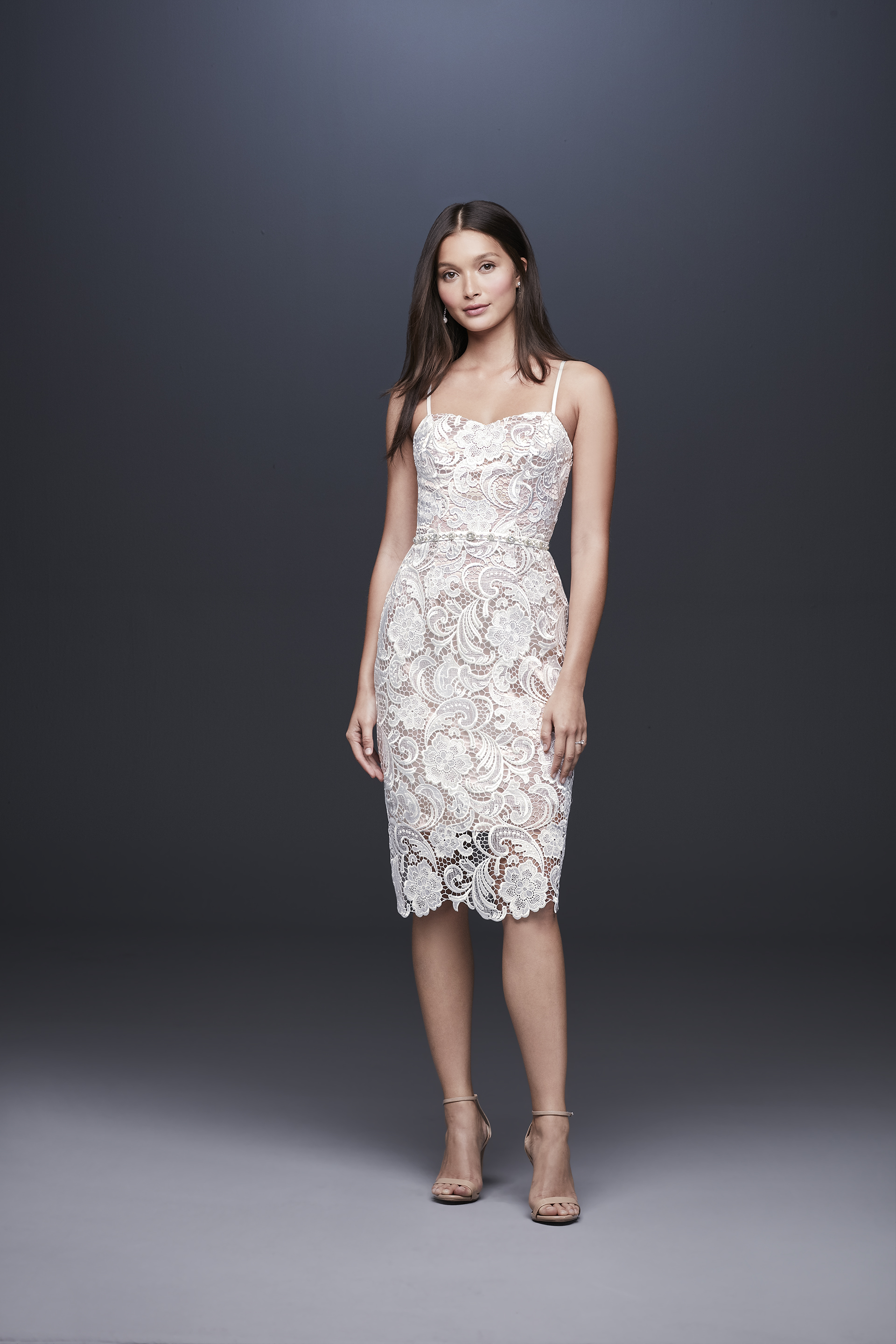 davids bridal db studio fall 2019 shirt sheath sweetheart knee length spaghetti strap lace overlay