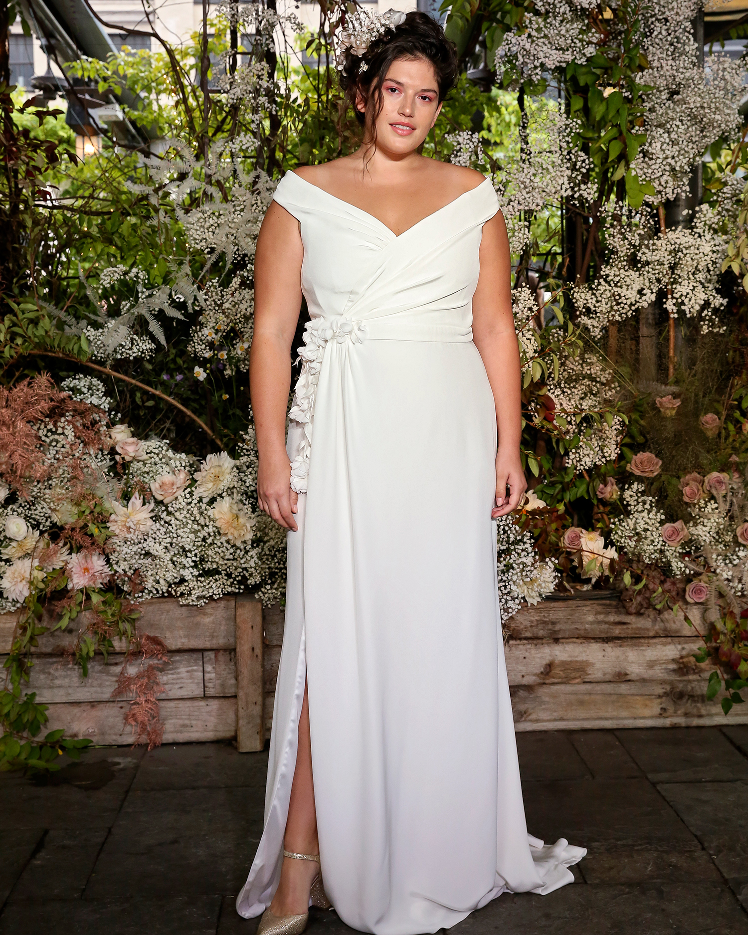alexandra grecco wedding dress off-the-shoulder wrapped bodice