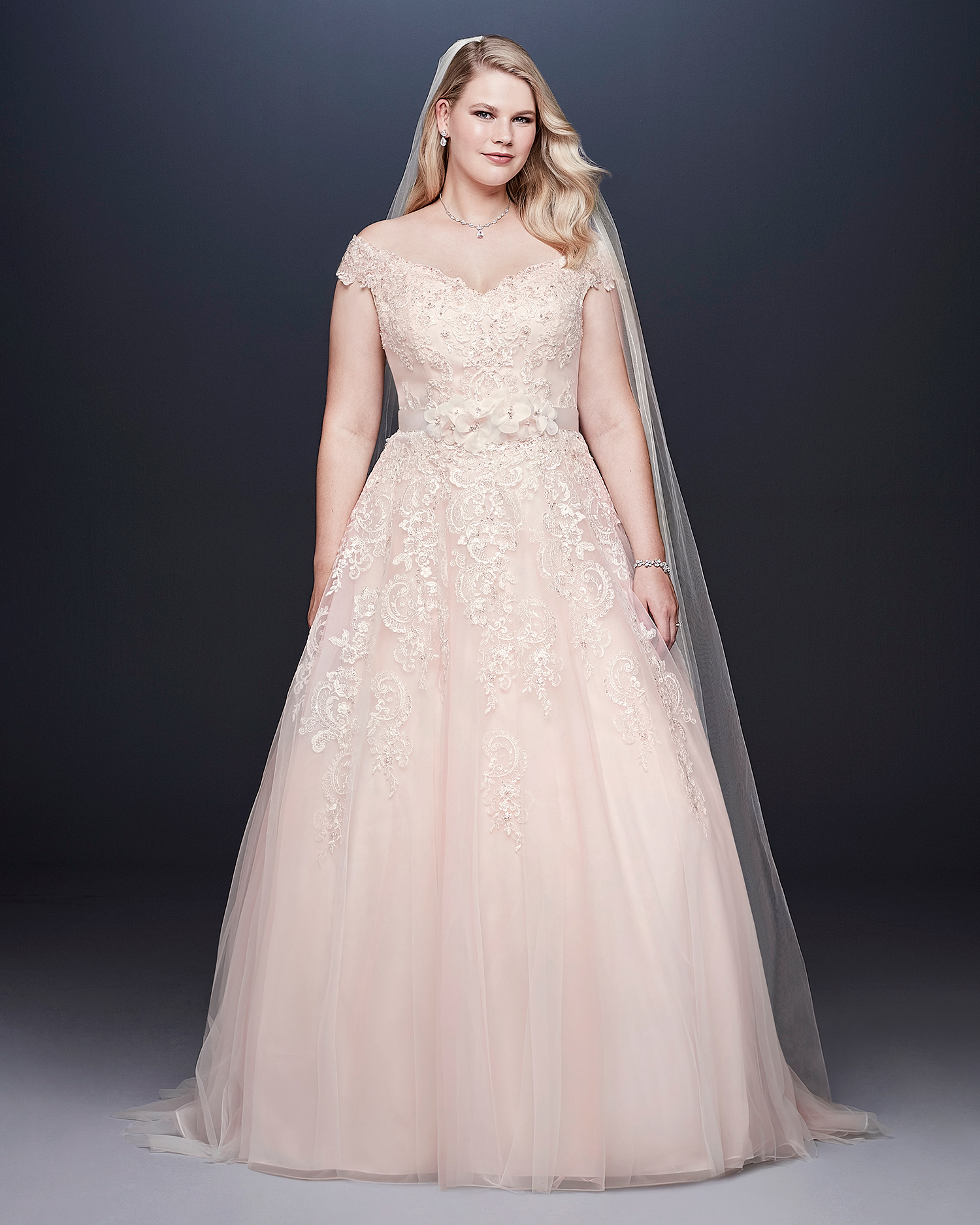 davids bridal wedding dress fall 2019 off-the-shoulder cap sleeves with belt
