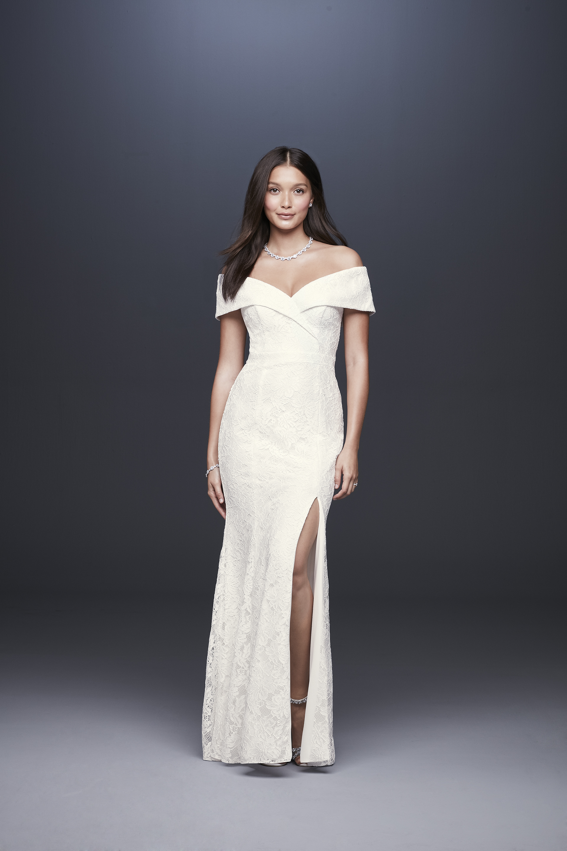 davids bridal db studio fall 2019 trumpet high slit v neck off the shoulders lace