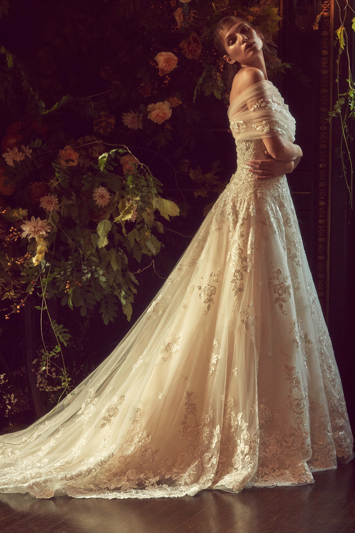 monique lhuillier bliss fall 2019 lace and tulle a-line gown with tulle wrapped around top