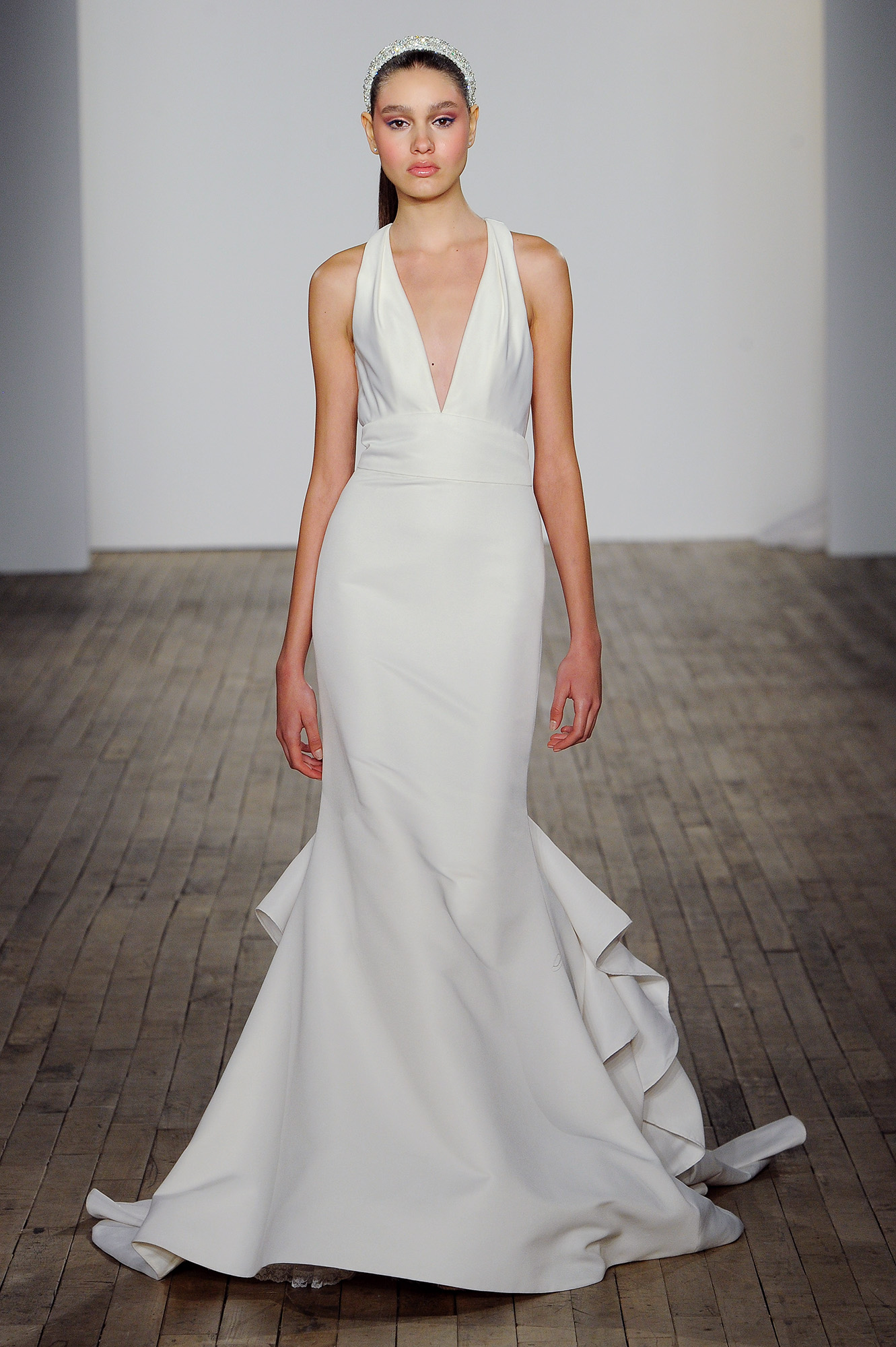 allison webb wedding dress deep v-neck sleeveless trumpet