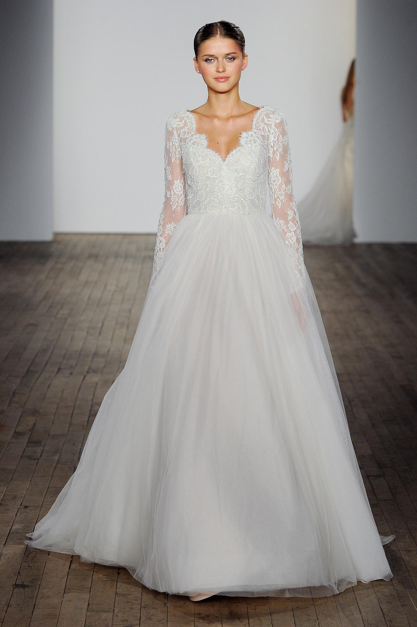 allison webb wedding dress v-neck lace long sleeves tulle a-line