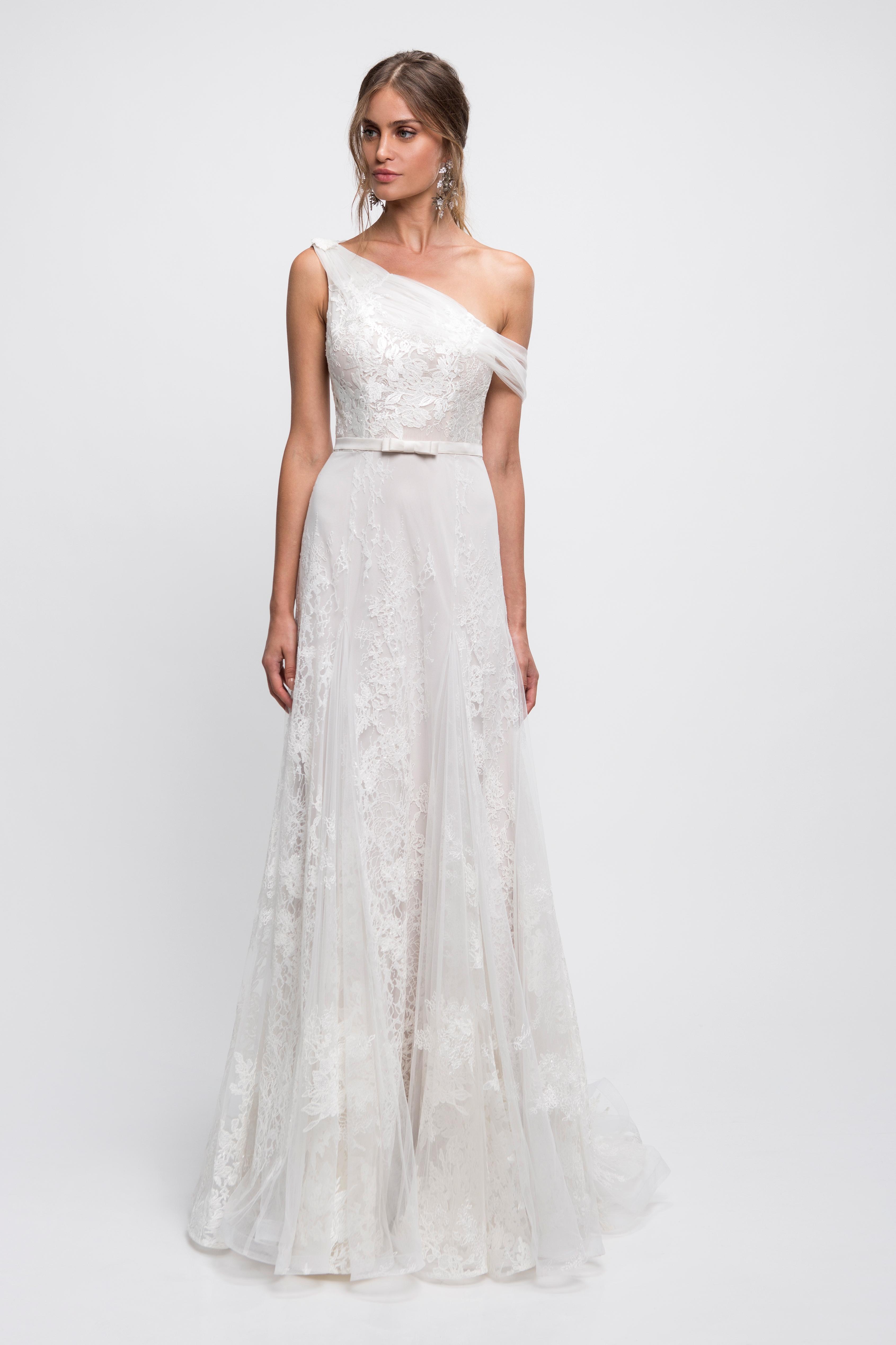 lihi hod wedding dress lace one shoulder off the shoulder a-line