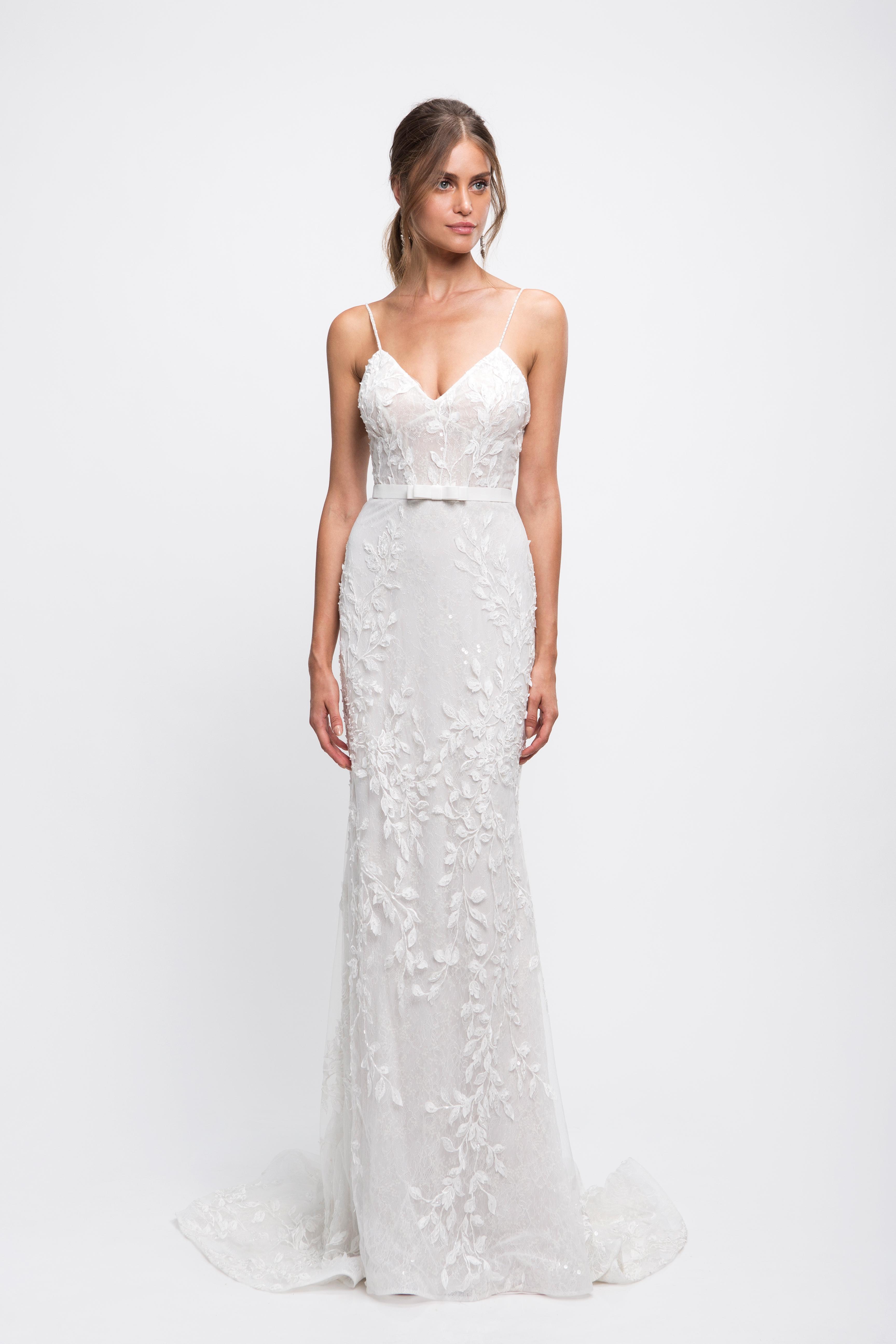 lihi hod wedding dress lace spaghetti strap sweetheart trumpet