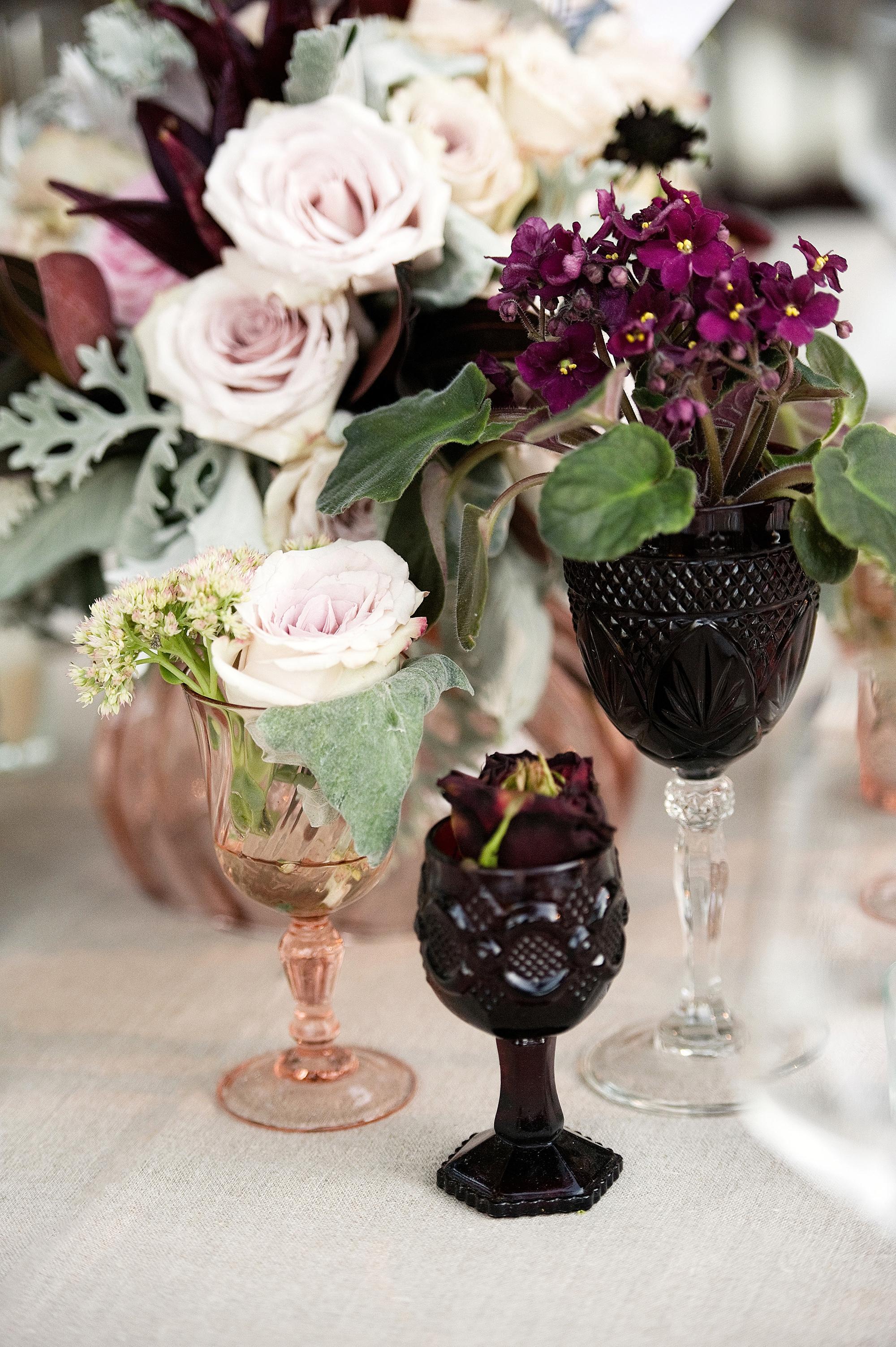 fall wedding centerpieces goblets cluster vintage florals