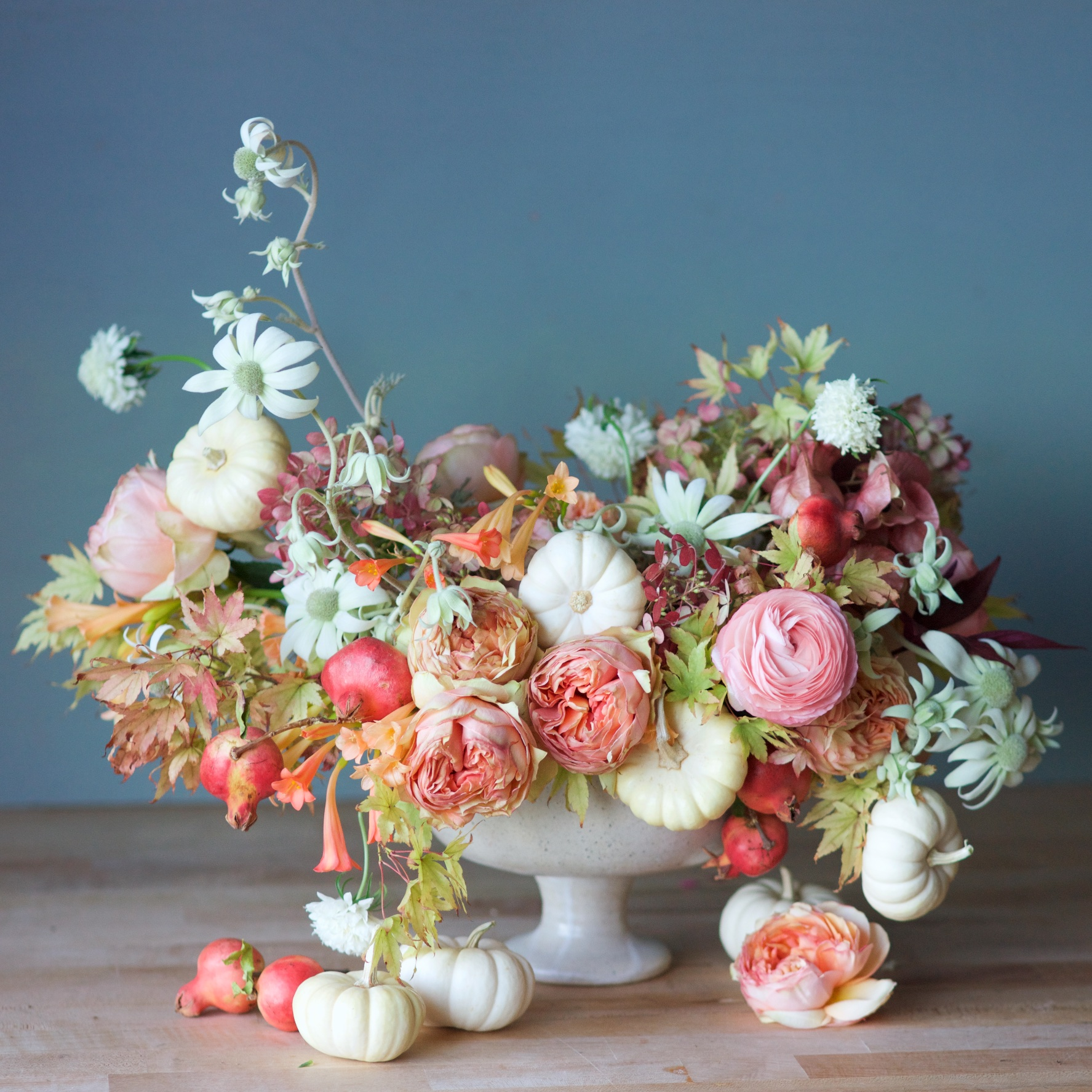 Fall Centerpiece with Mini White Pumpkins