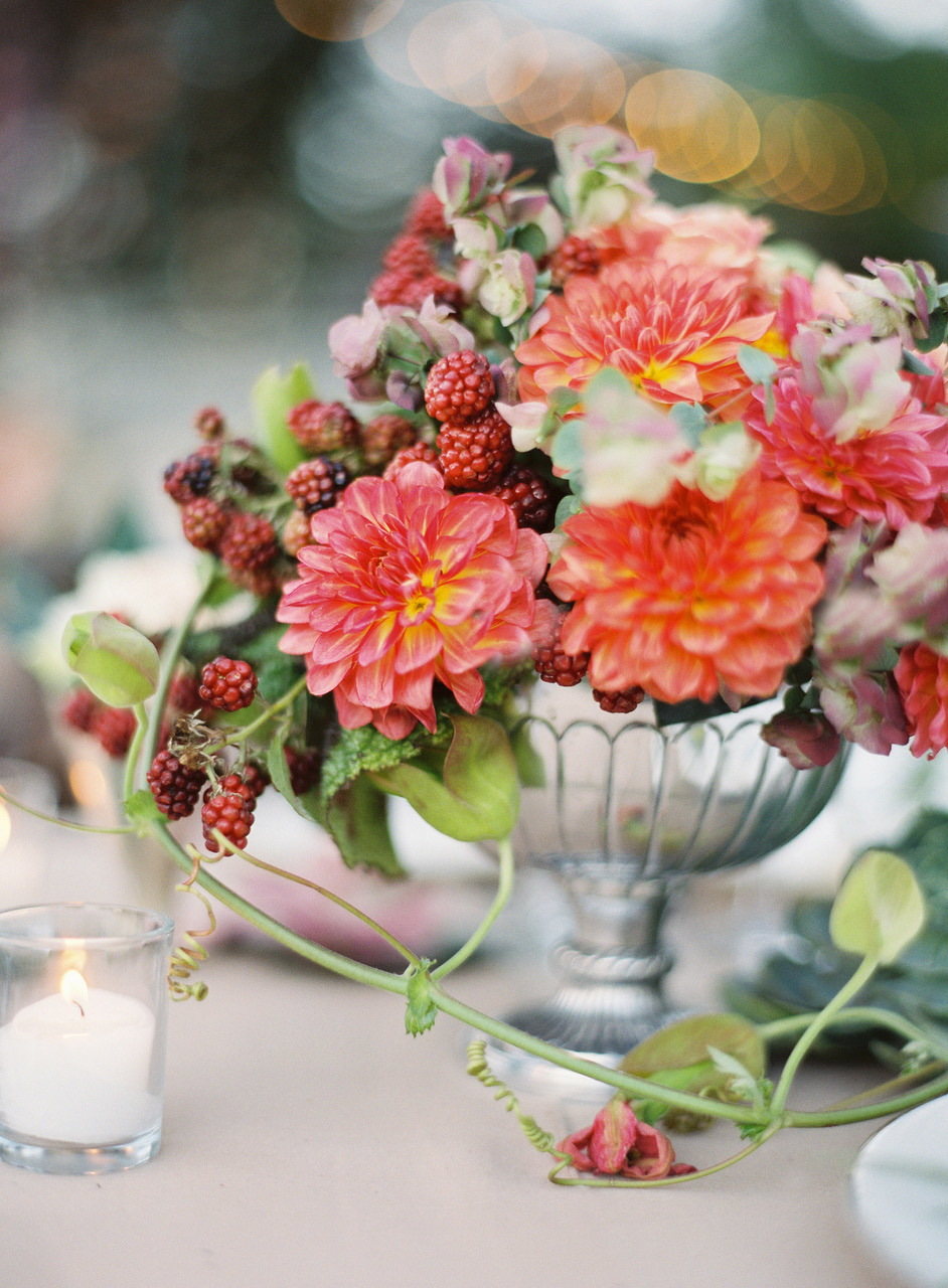 Dahlia and Berry Fall Wedding Centerpiece