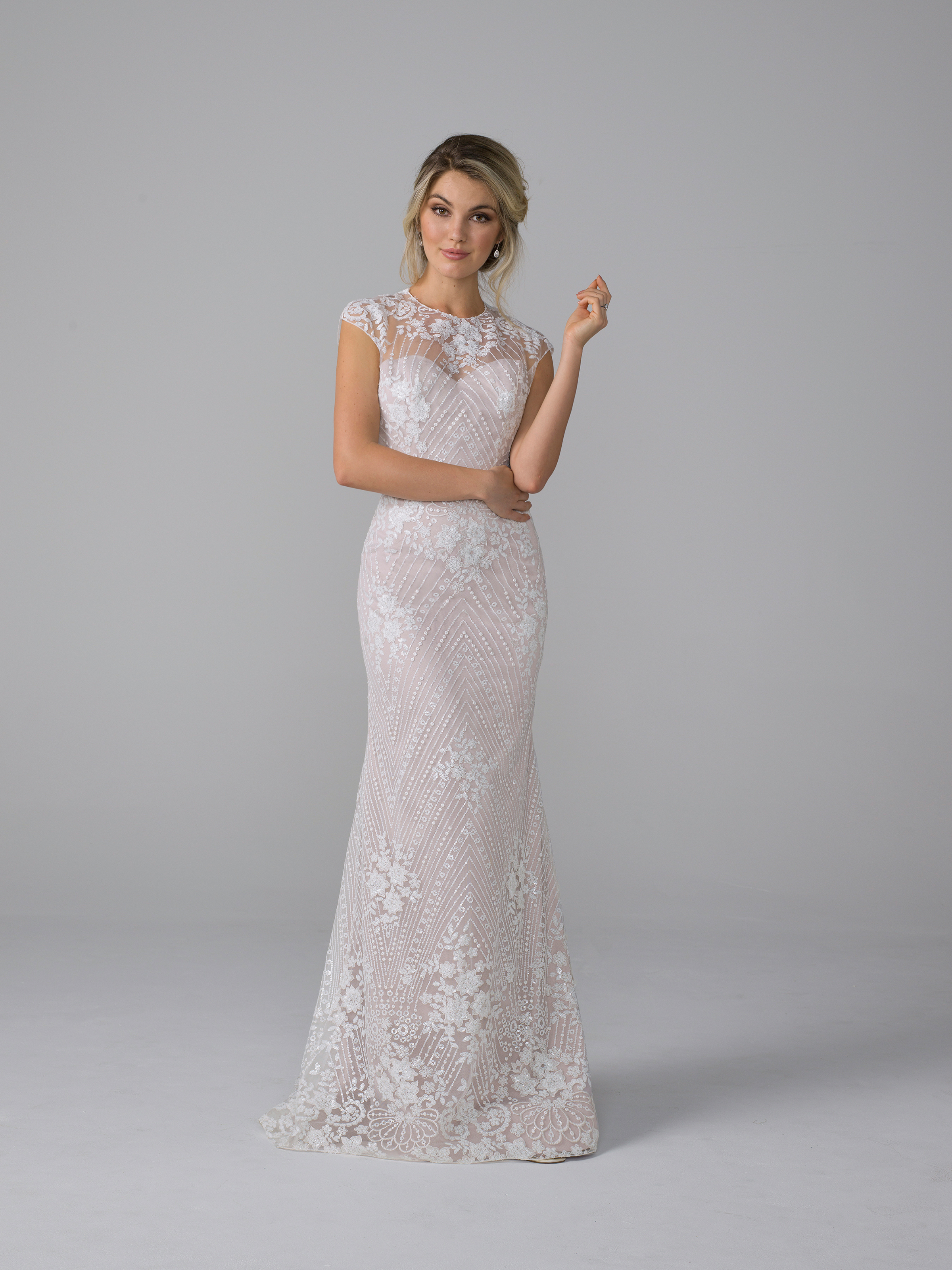 azul by liancarlo fall 2019 mermaid sweetheart illusion high neck floral lace overlay blush