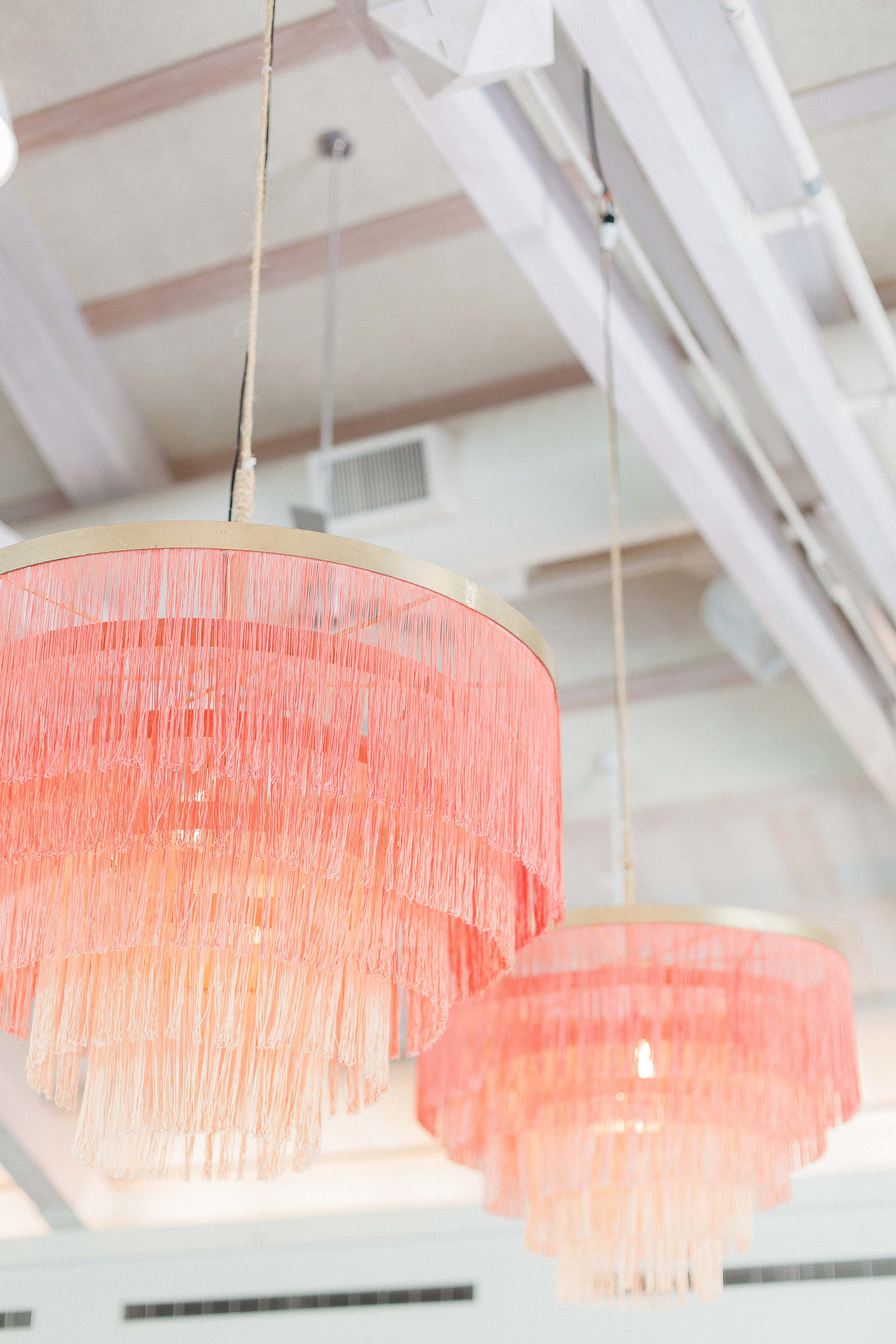 wedding chandelier fringed with added color