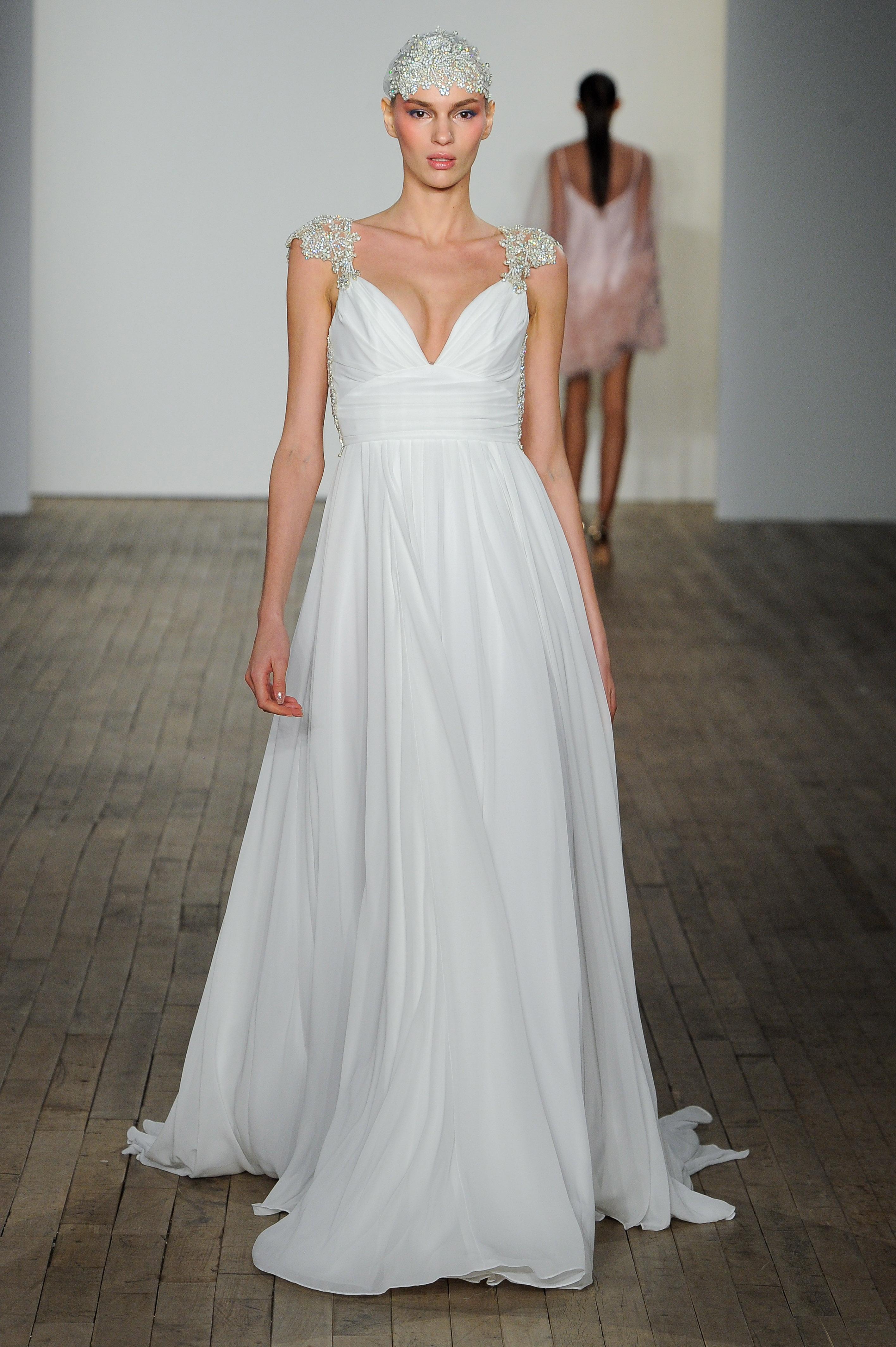 haley paige fall 2019 cap sleeve vertical ruffles wedding dress