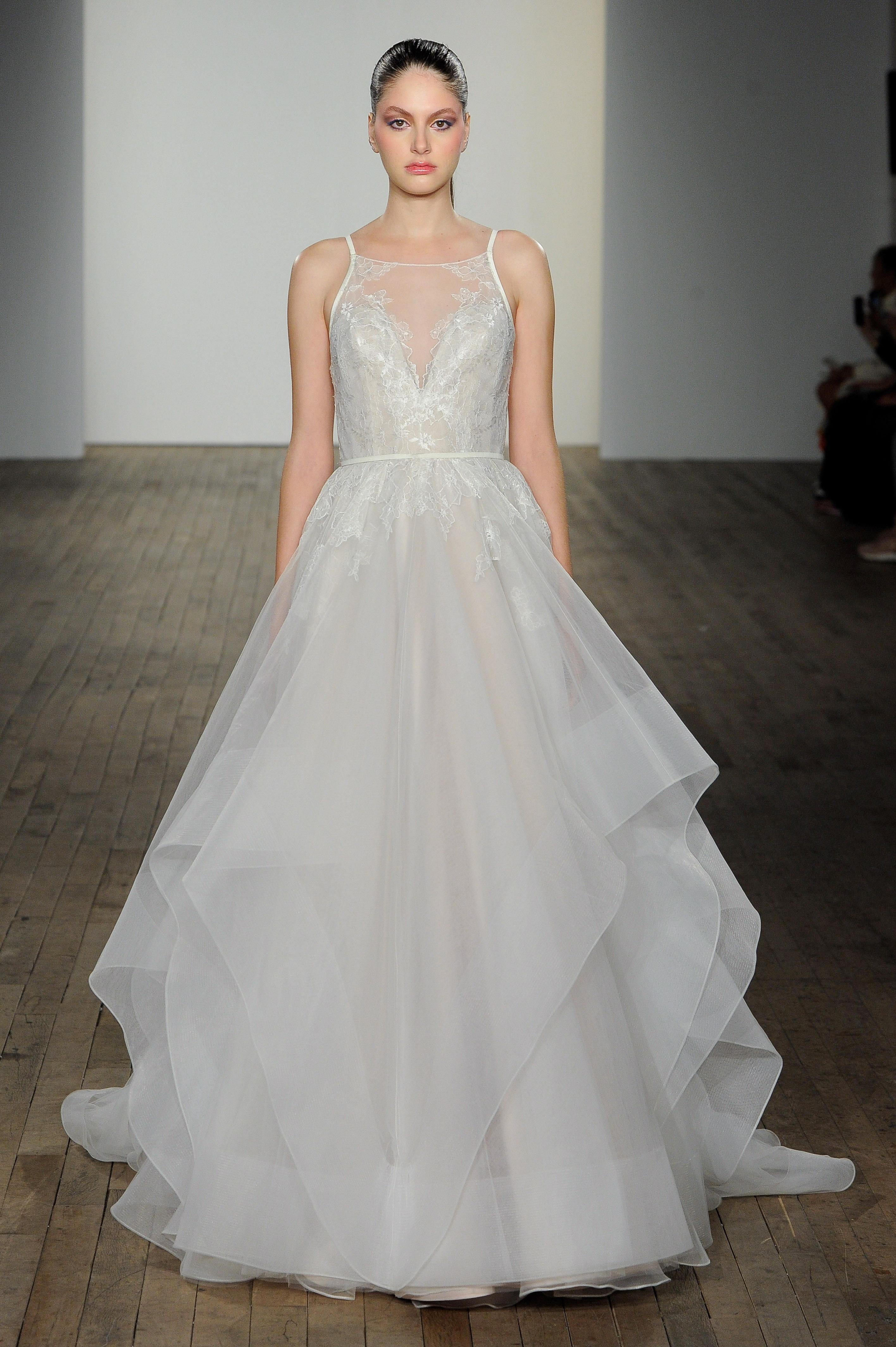 haley paige fall 2019 high vertical ruffles wedding dress