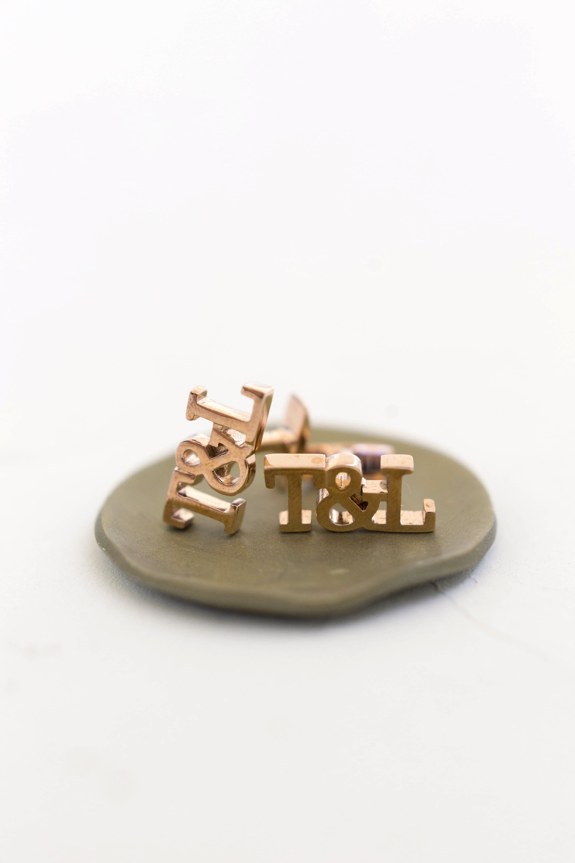 wedding gold cufflink initials