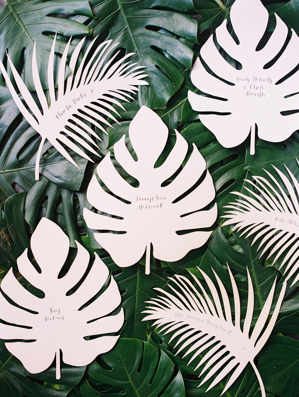 sara danny mexico wedding escort cards leaf
